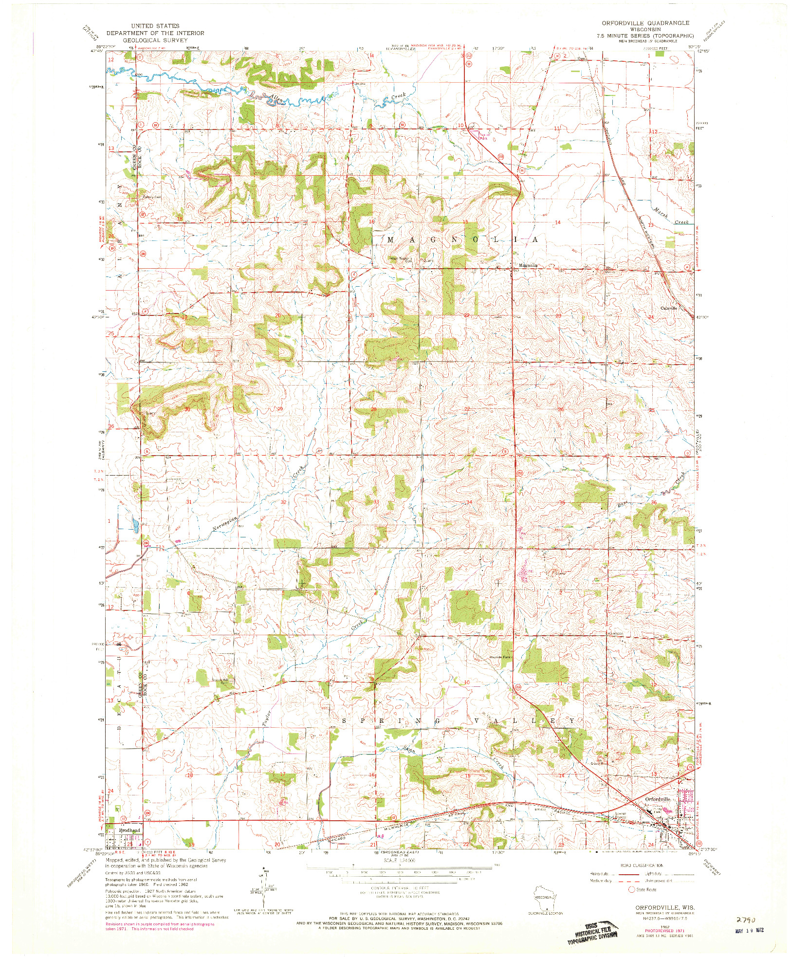 USGS 1:24000-SCALE QUADRANGLE FOR ORFORDVILLE, WI 1962