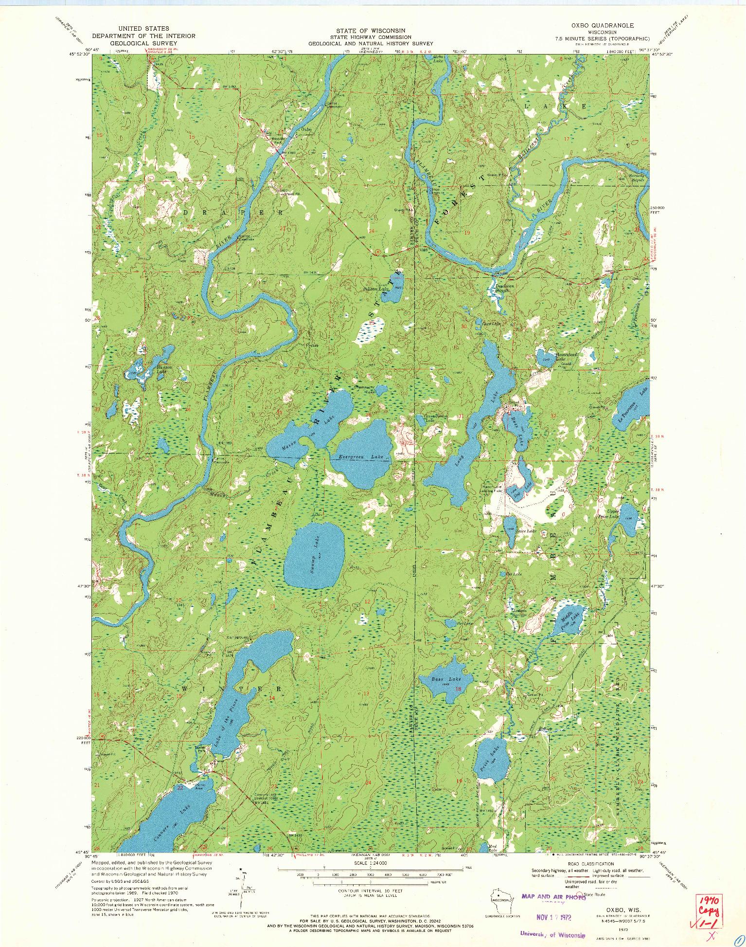 USGS 1:24000-SCALE QUADRANGLE FOR OXBO, WI 1970