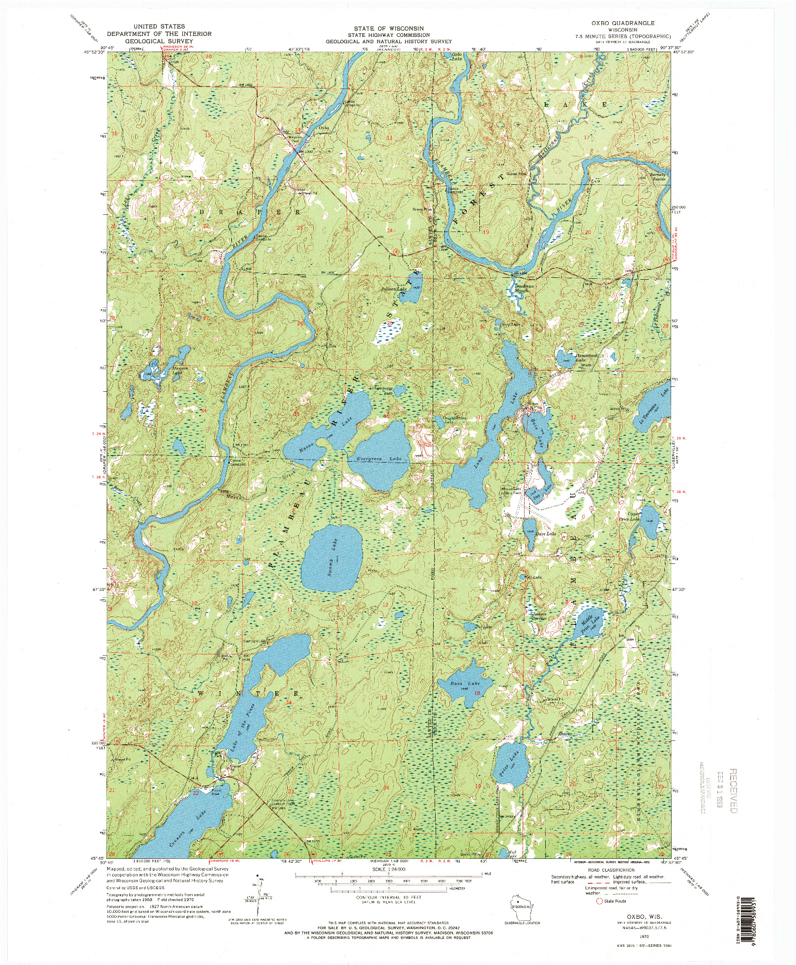 USGS 1:24000-SCALE QUADRANGLE FOR OXBO, WI 1970