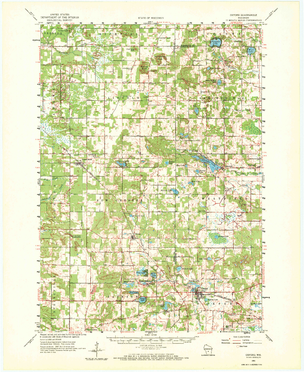 USGS 1:62500-SCALE QUADRANGLE FOR OXFORD, WI 1961