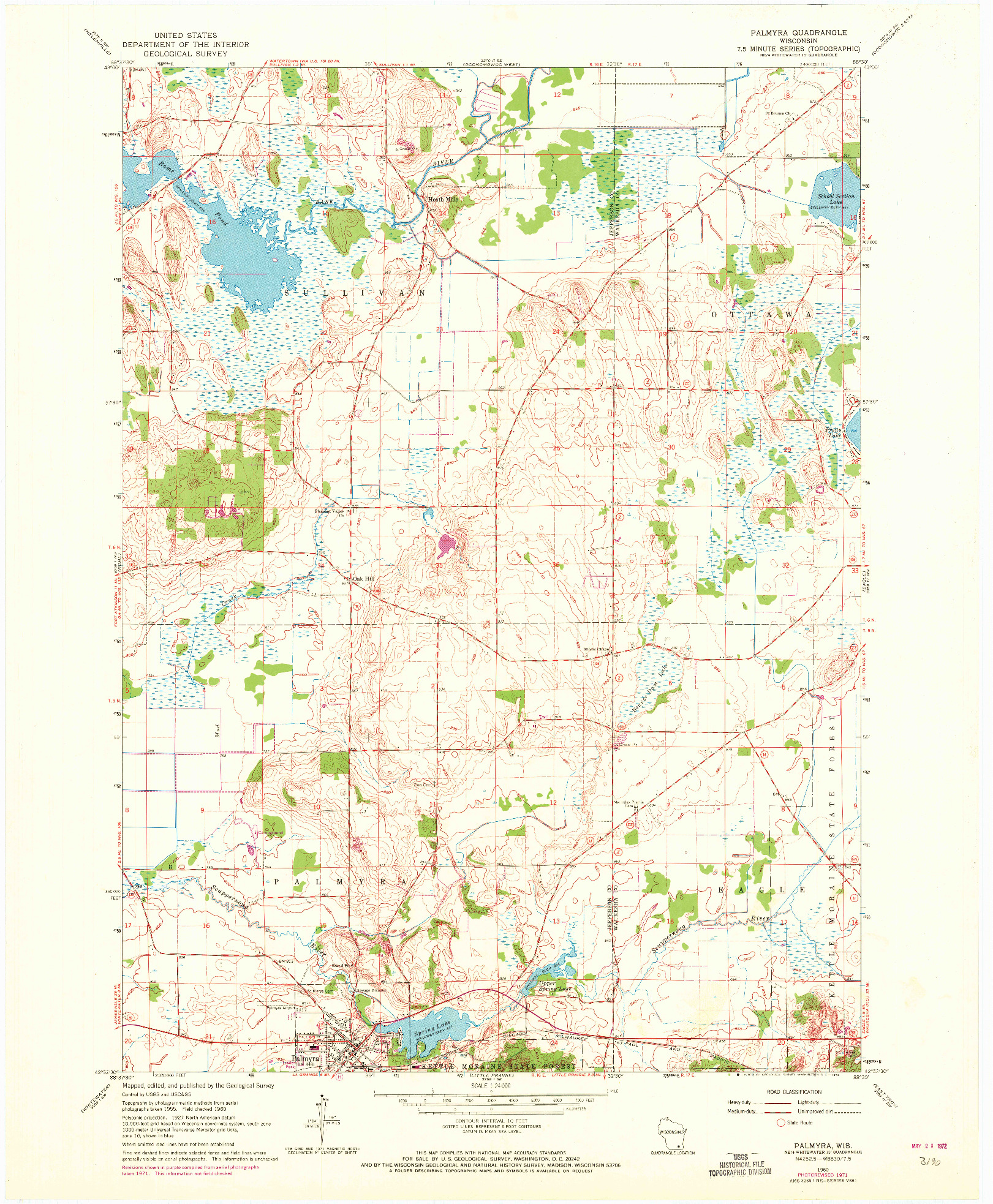 USGS 1:24000-SCALE QUADRANGLE FOR PALMYRA, WI 1960