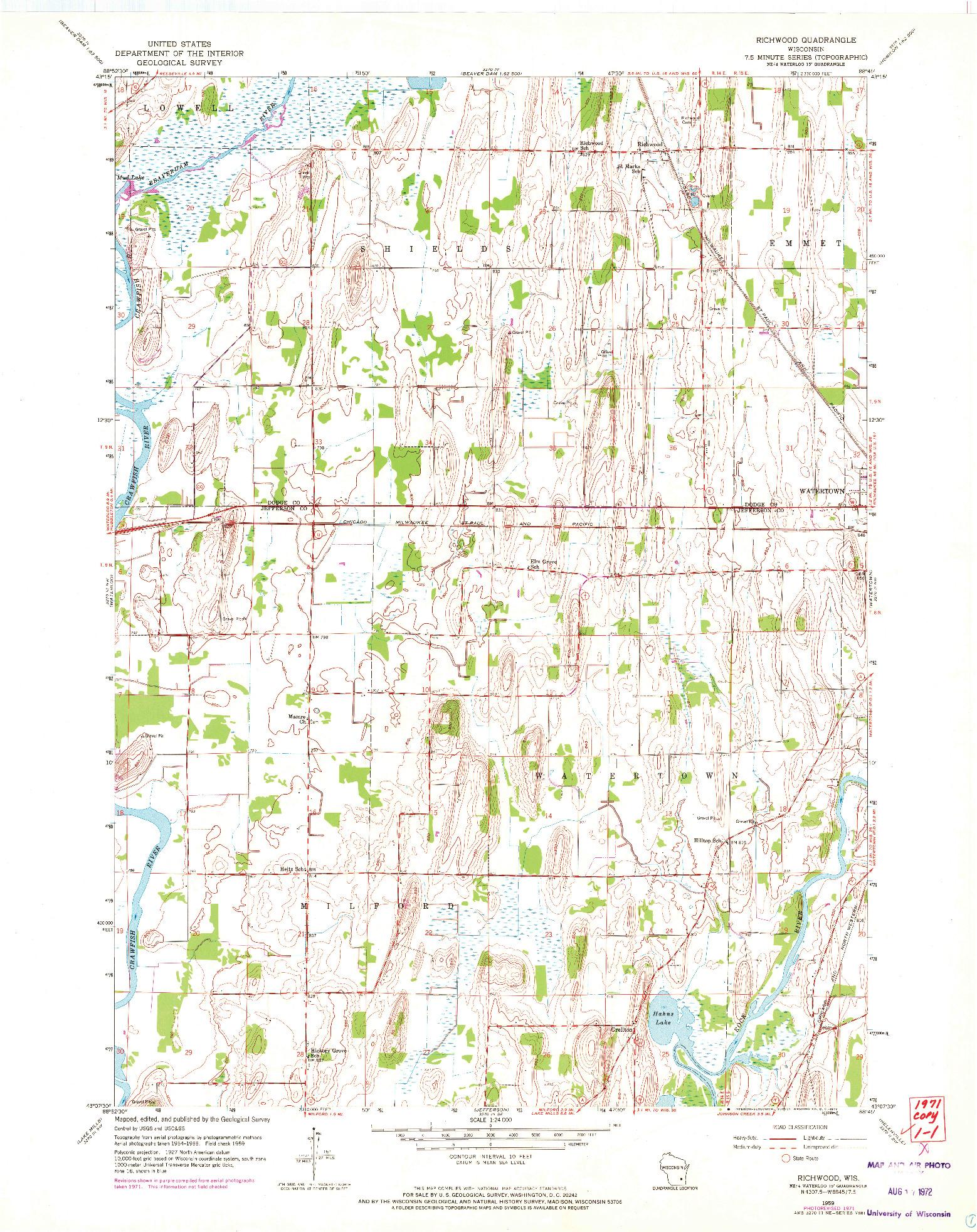 USGS 1:24000-SCALE QUADRANGLE FOR RICHWOOD, WI 1959