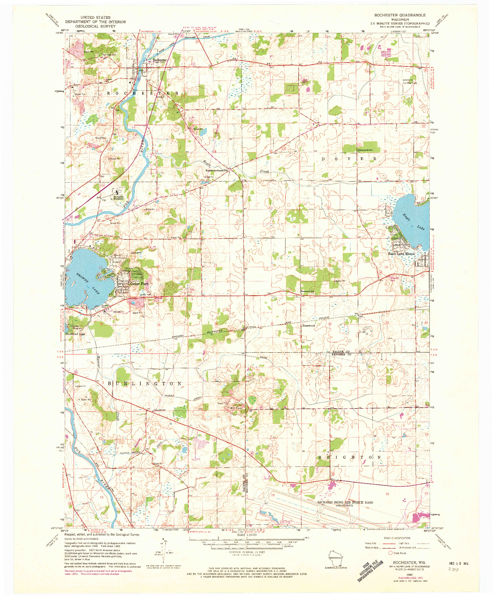 USGS 1:24000-SCALE QUADRANGLE FOR ROCHESTER, WI 1960
