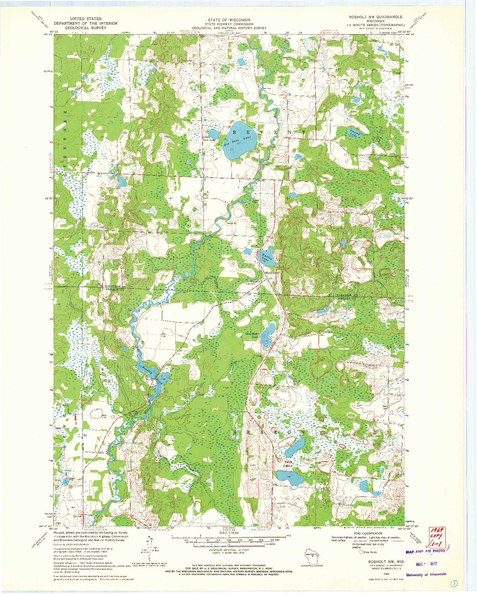USGS 1:24000-SCALE QUADRANGLE FOR ROSHOLT NW, WI 1969