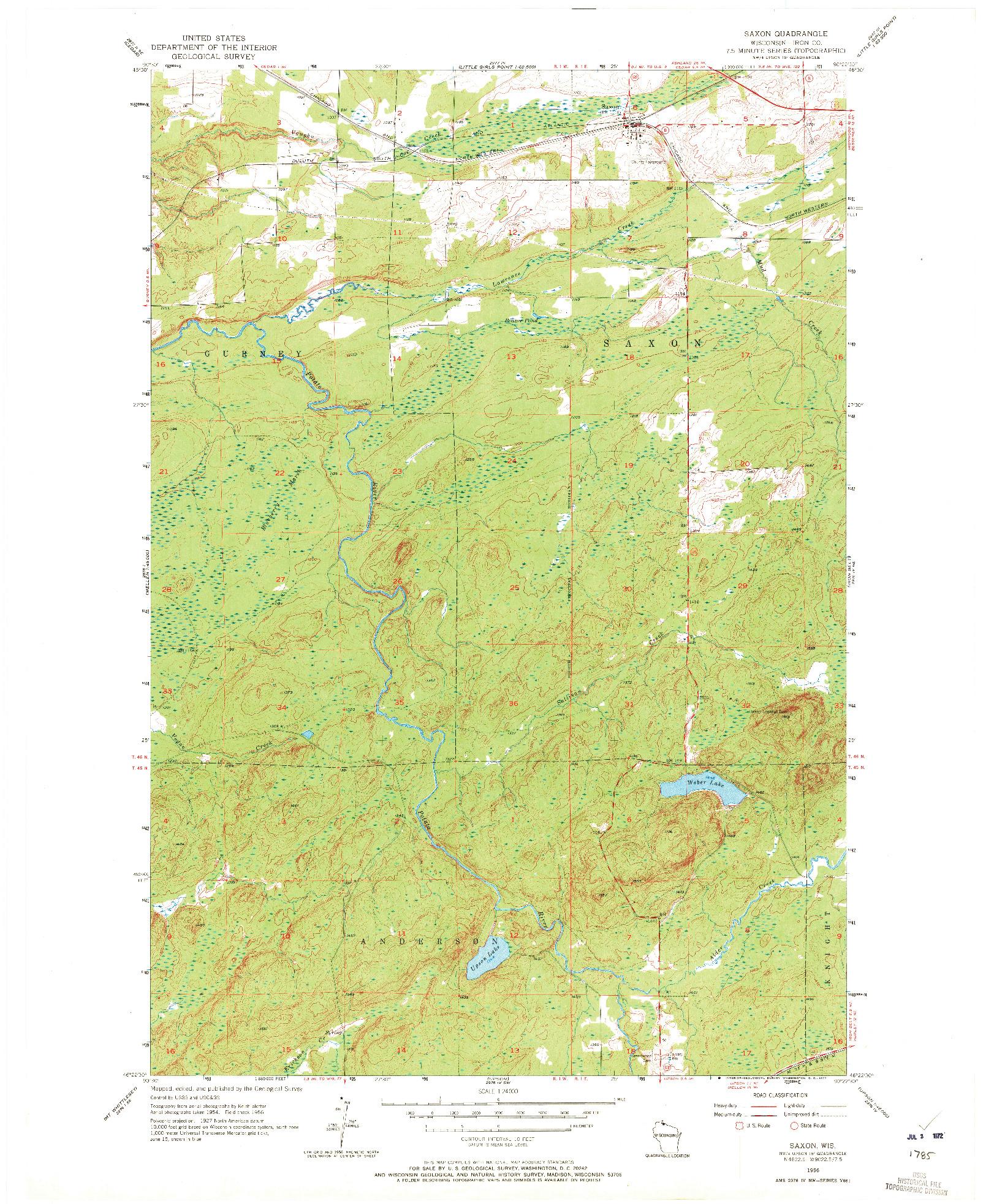 USGS 1:24000-SCALE QUADRANGLE FOR SAXON, WI 1956