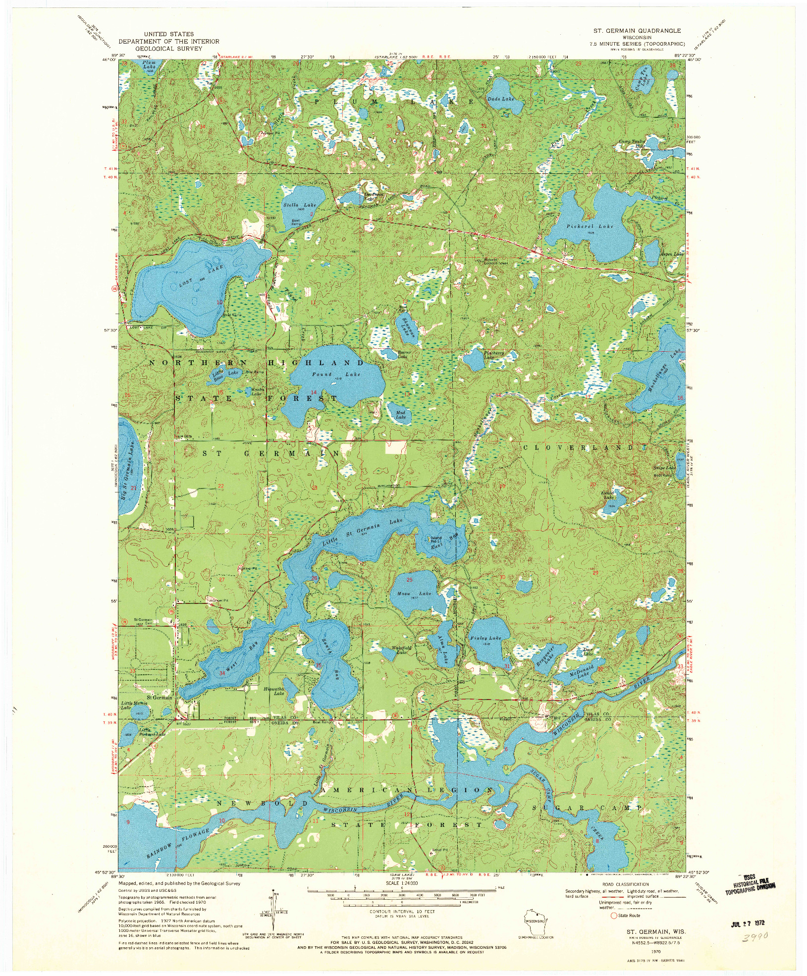 USGS 1:24000-SCALE QUADRANGLE FOR ST. GERMAIN, WI 1970