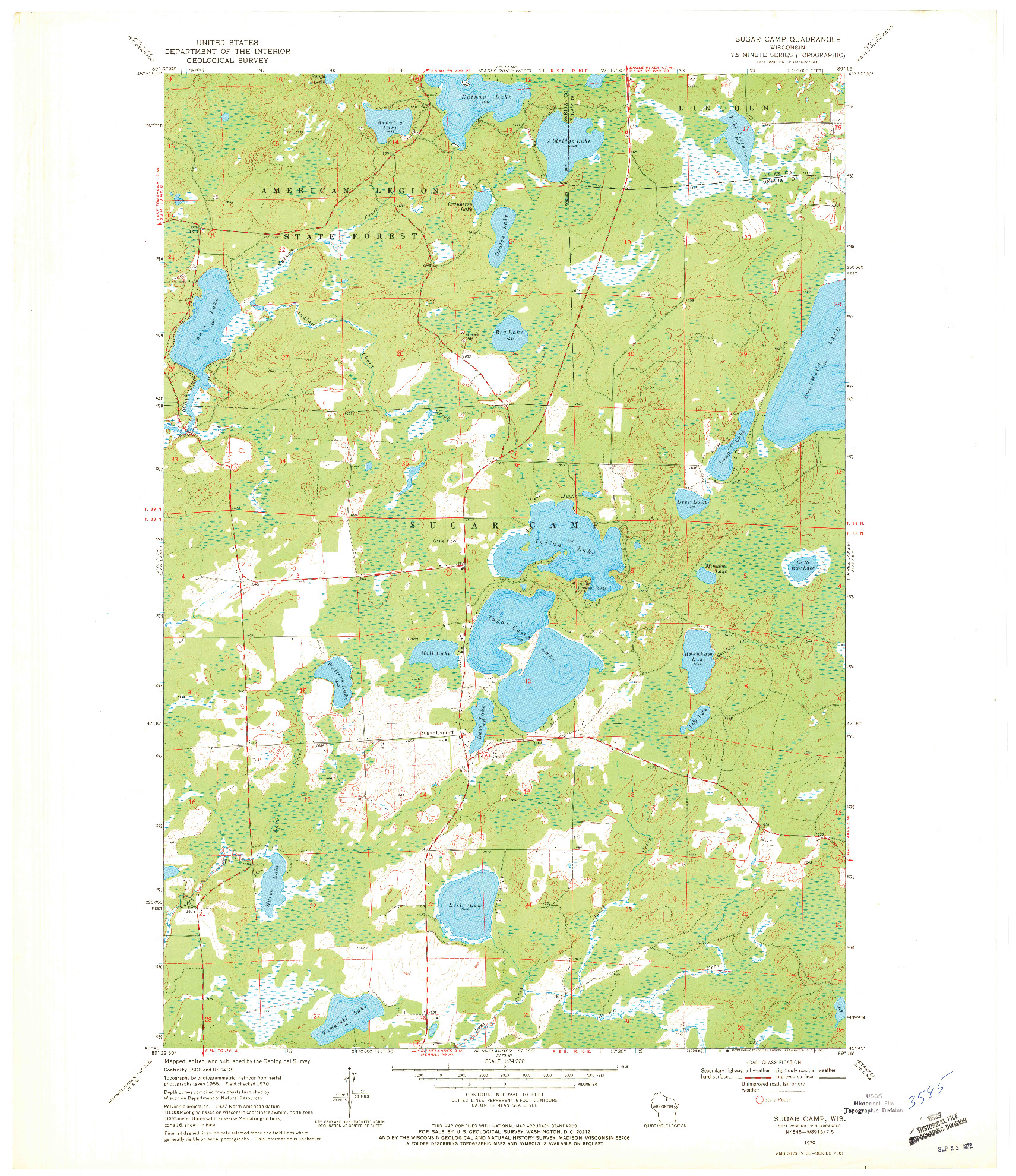 USGS 1:24000-SCALE QUADRANGLE FOR SUGAR CAMP, WI 1970