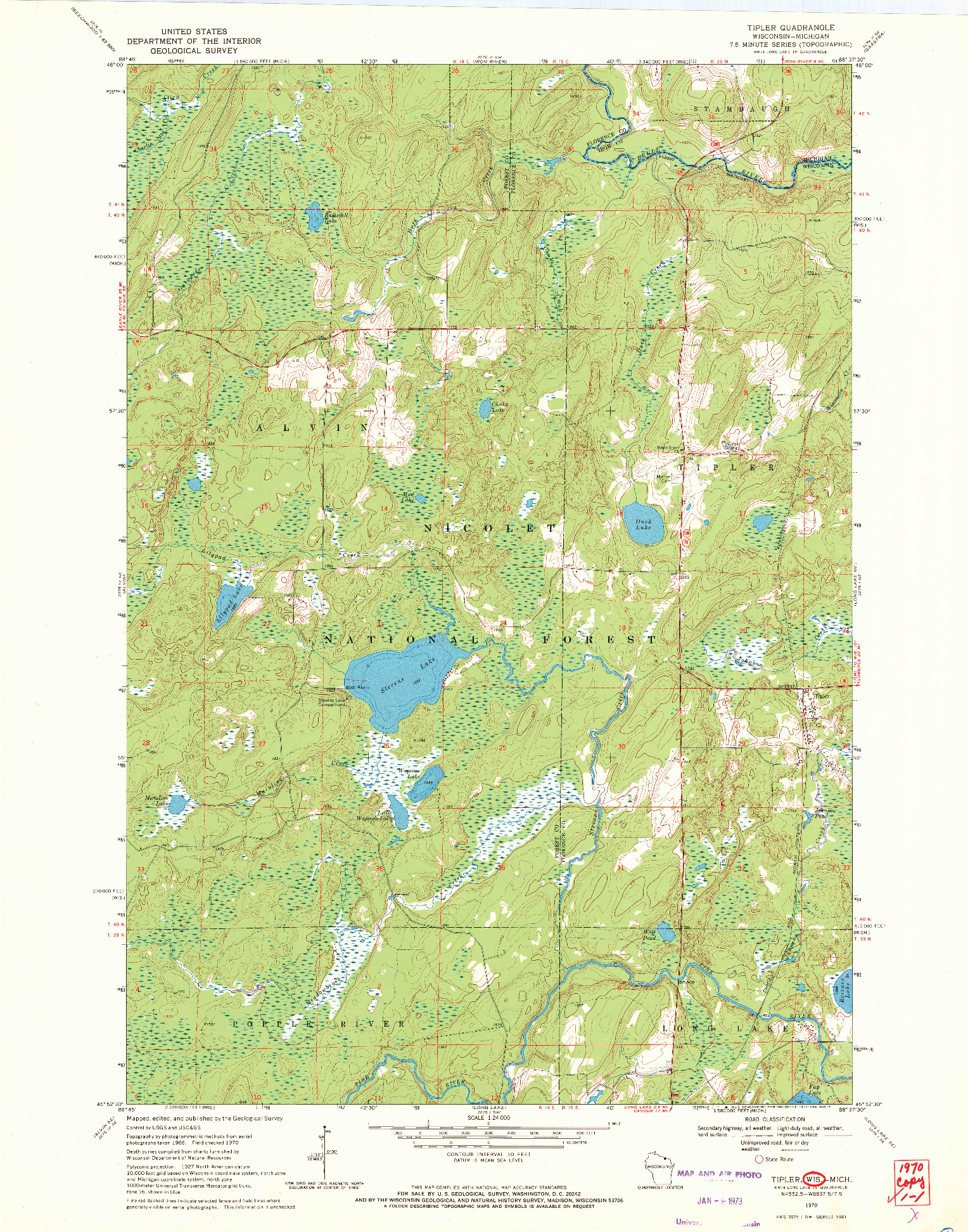 USGS 1:24000-SCALE QUADRANGLE FOR TIPLER, WI 1970