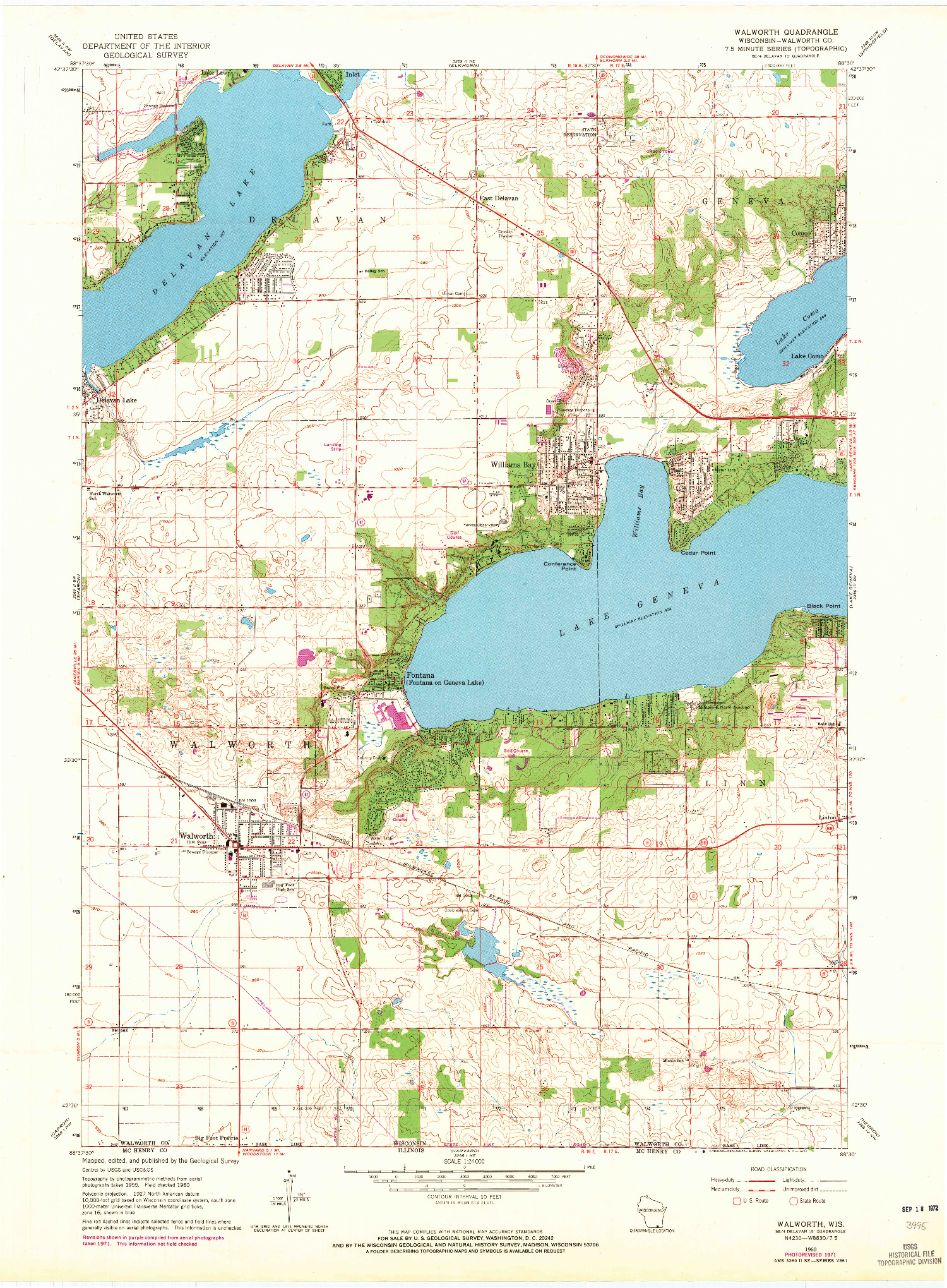 USGS 1:24000-SCALE QUADRANGLE FOR WALWORTH, WI 1960
