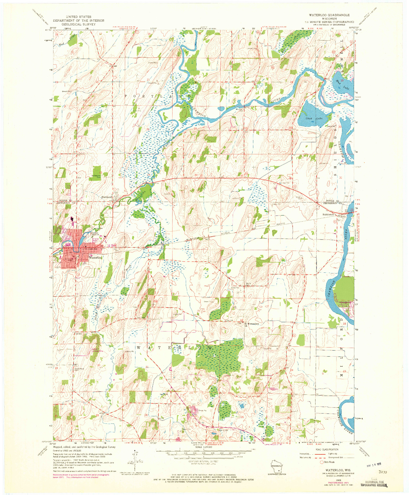 USGS 1:24000-SCALE QUADRANGLE FOR WATERLOO, WI 1959