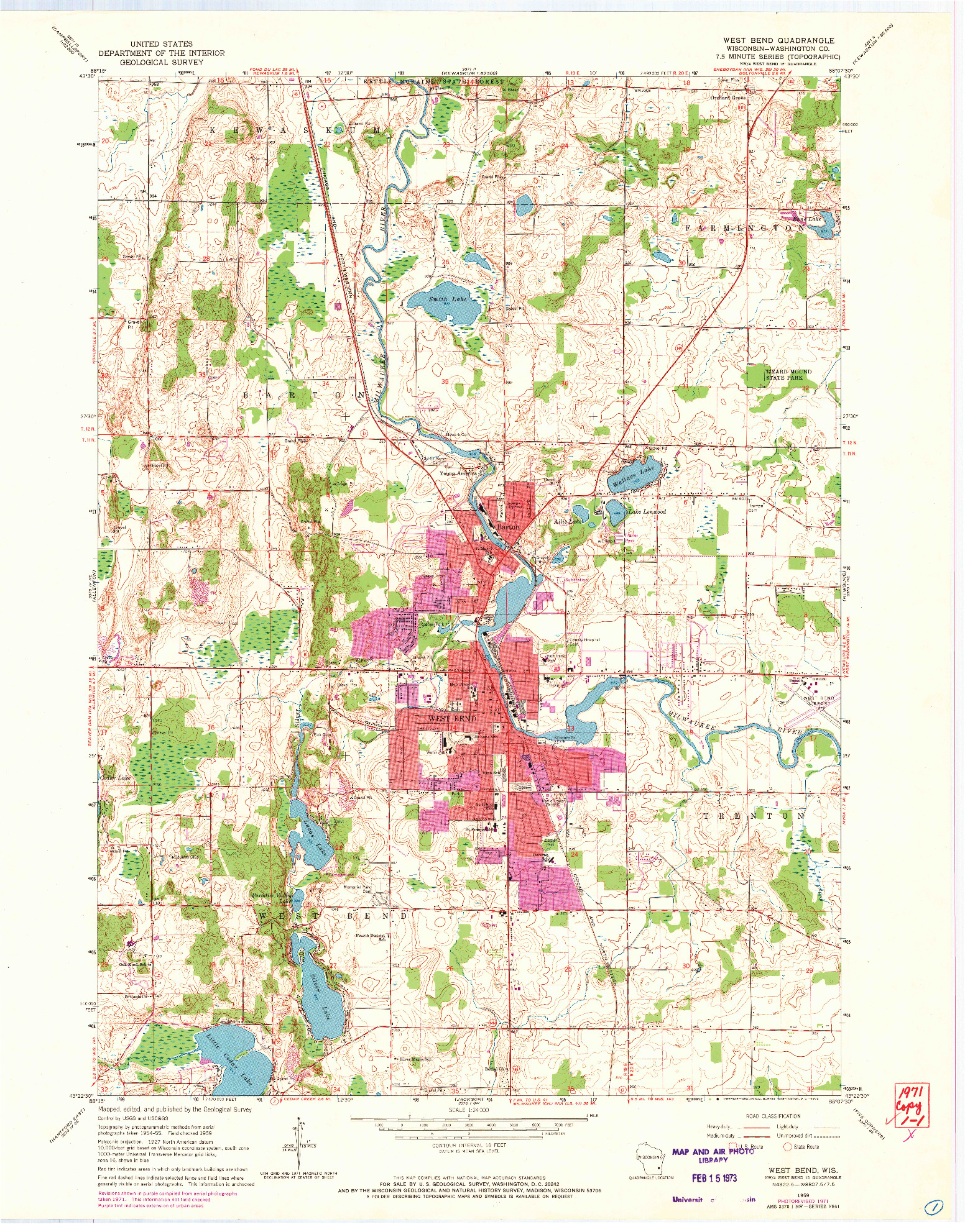USGS 1:24000-SCALE QUADRANGLE FOR WEST BEND, WI 1959