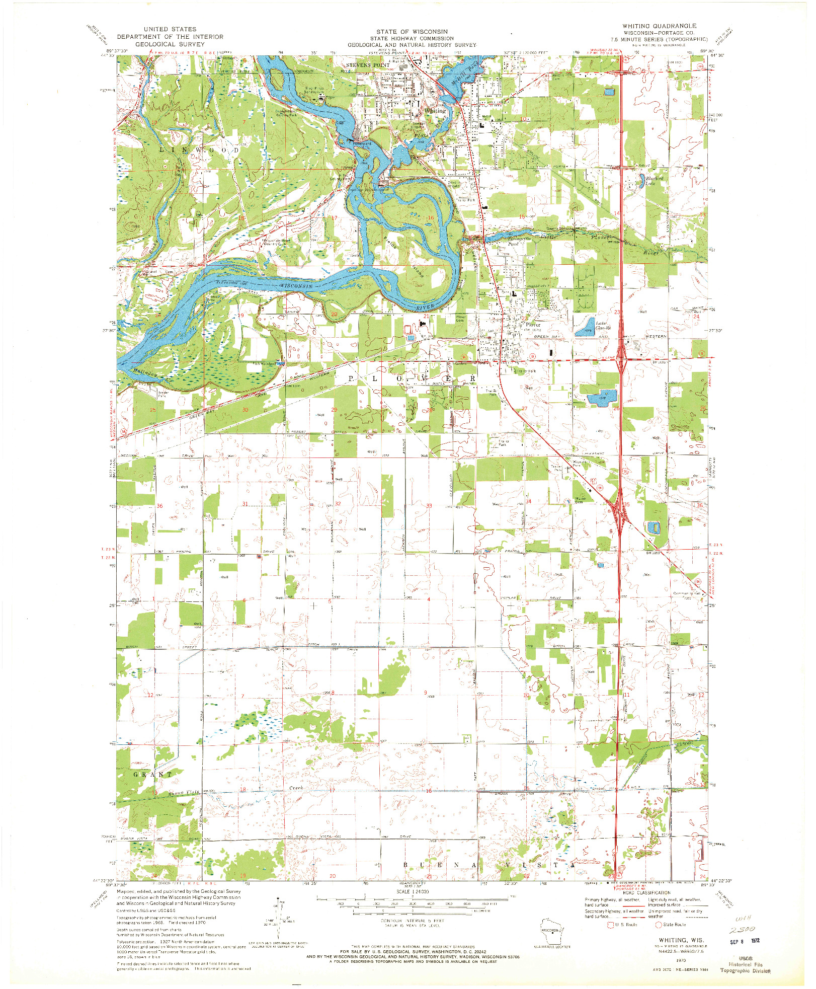 USGS 1:24000-SCALE QUADRANGLE FOR WHITING, WI 1970