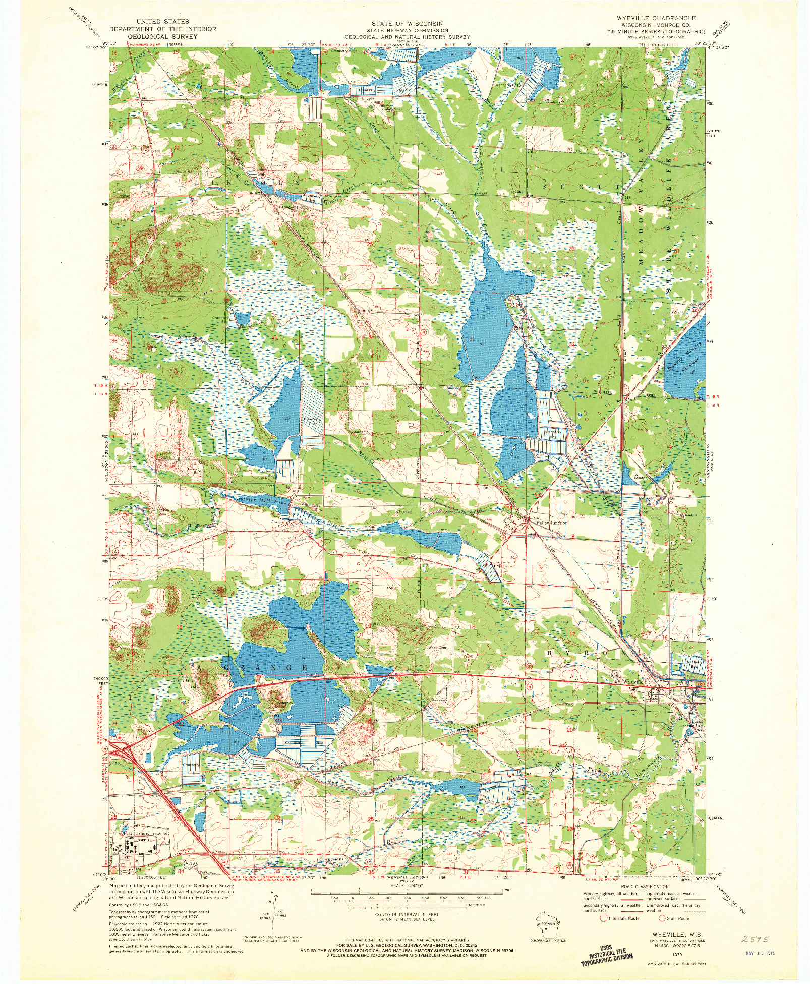 USGS 1:24000-SCALE QUADRANGLE FOR WYEVILLE, WI 1970
