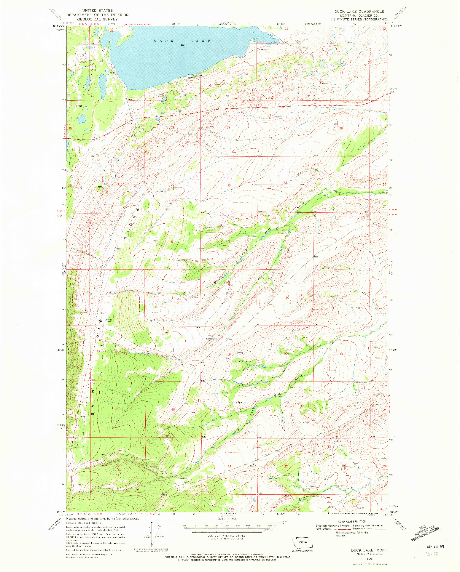USGS 1:24000-SCALE QUADRANGLE FOR DUCK LAKE, MT 1968