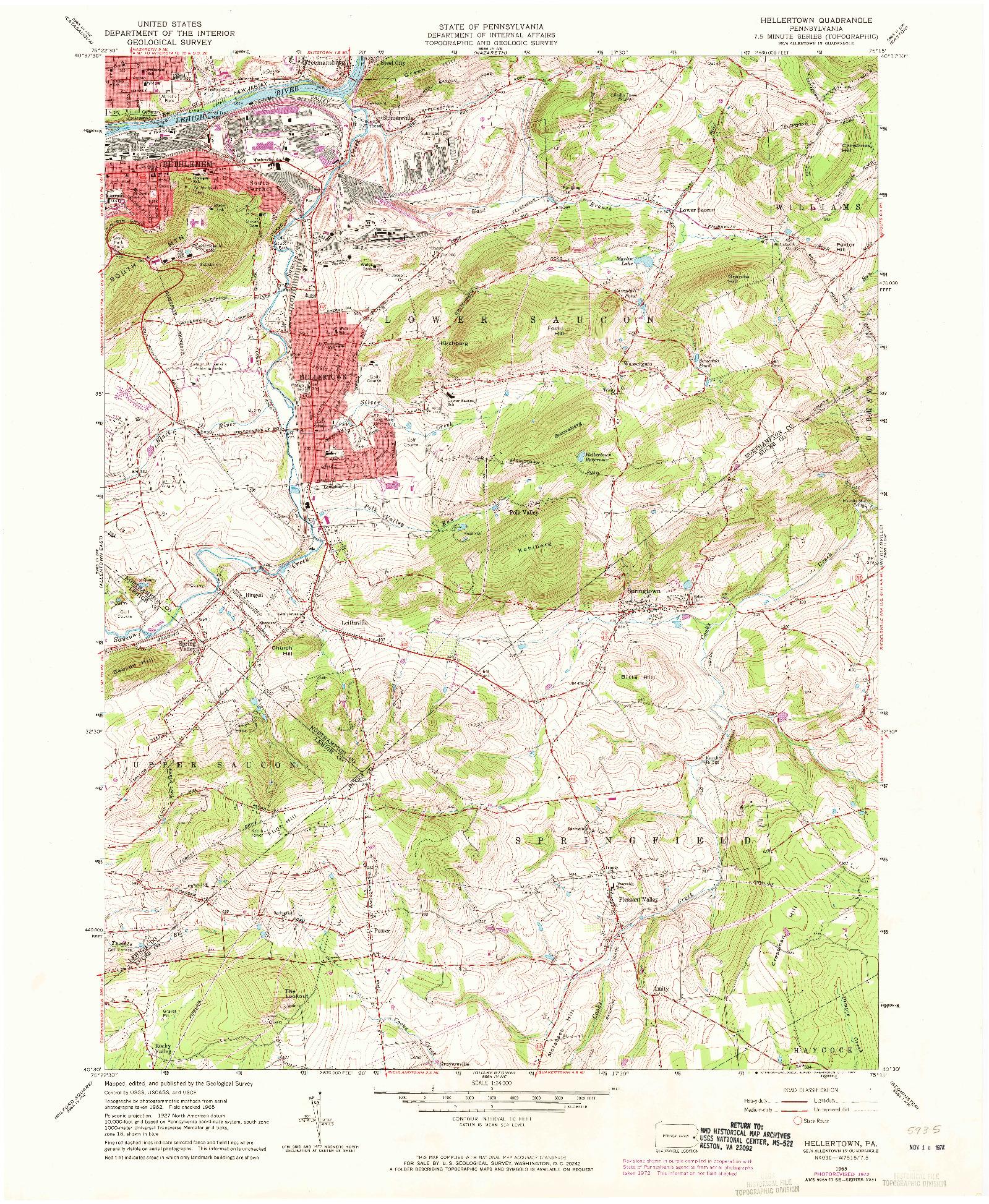 USGS 1:24000-SCALE QUADRANGLE FOR HELLERTOWN, PA 1965