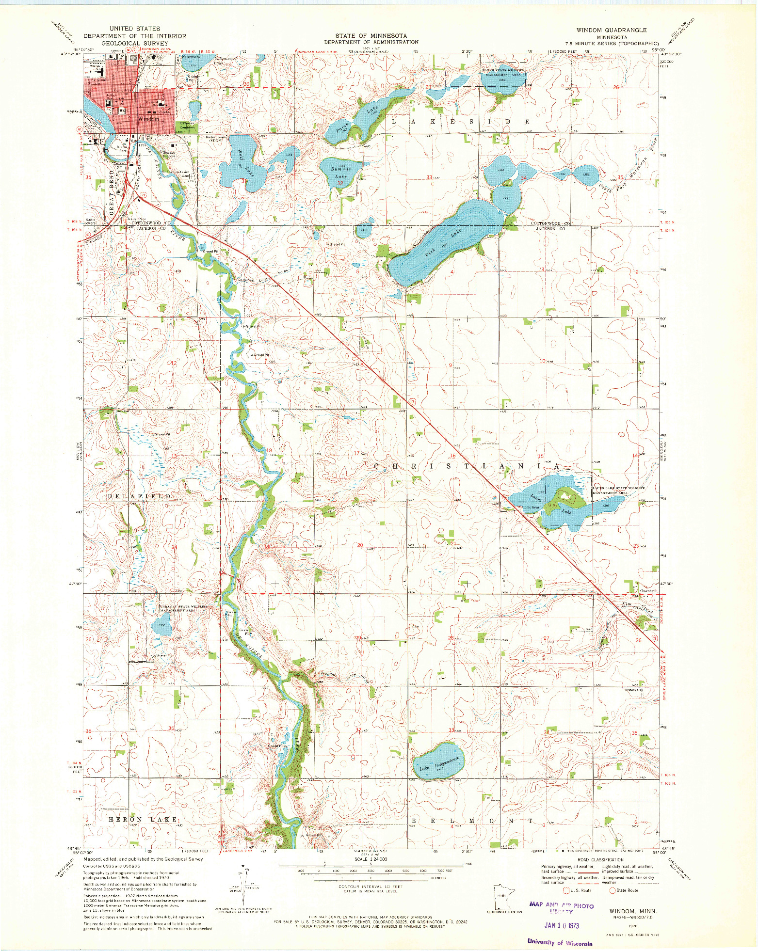 USGS 1:24000-SCALE QUADRANGLE FOR WINDOM, MN 1970