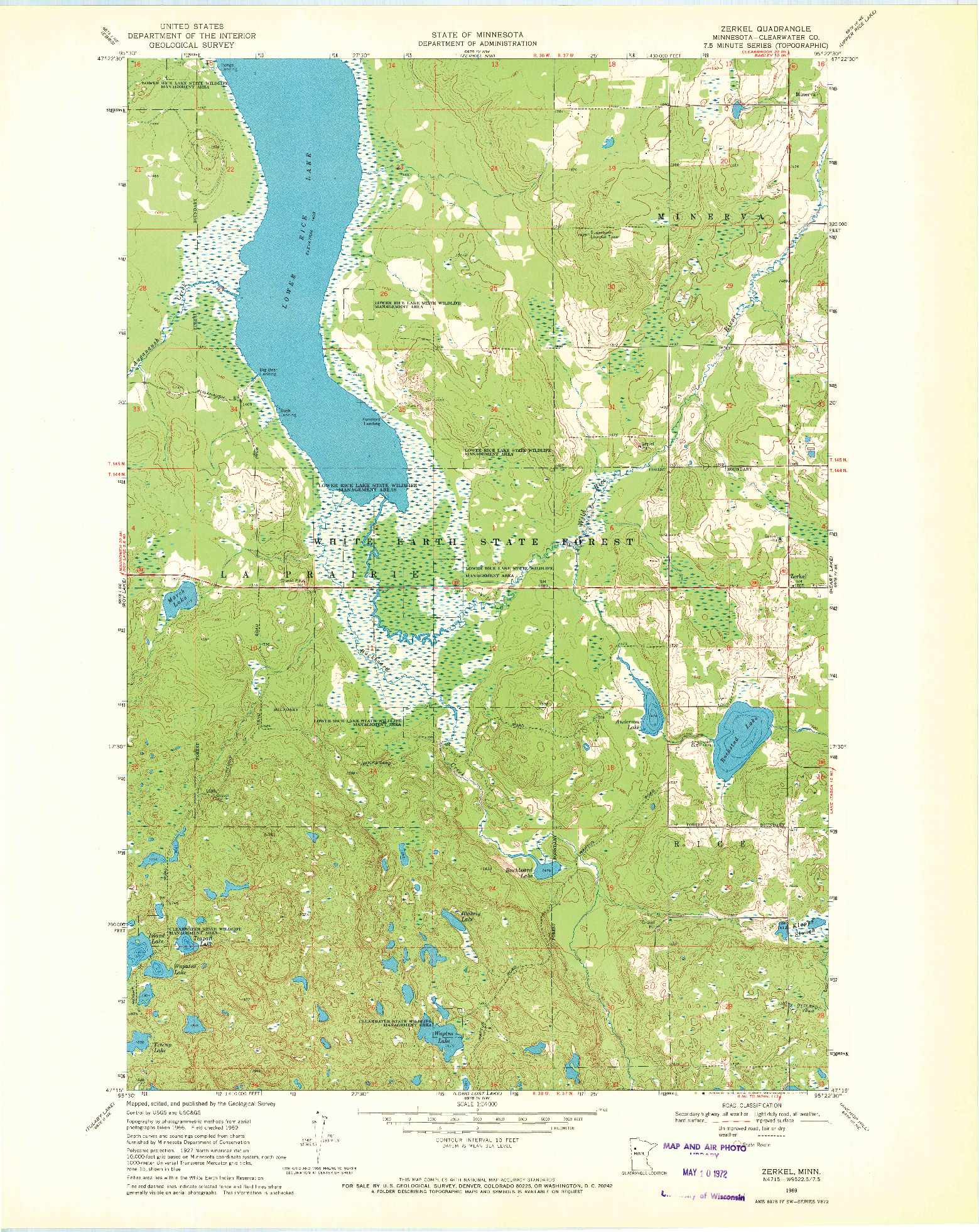 USGS 1:24000-SCALE QUADRANGLE FOR ZERKEL, MN 1969