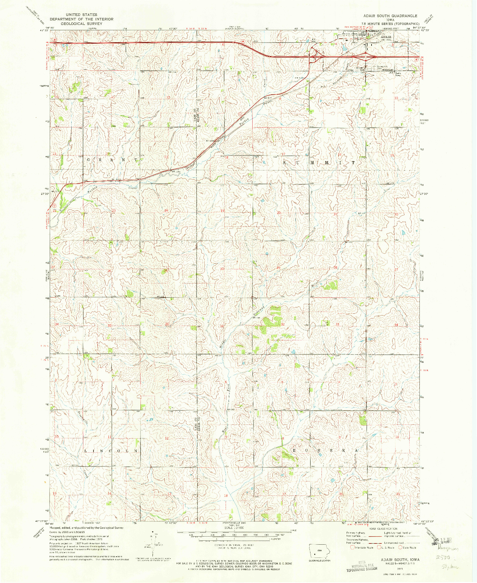 USGS 1:24000-SCALE QUADRANGLE FOR ADAIR SOUTH, IA 1971
