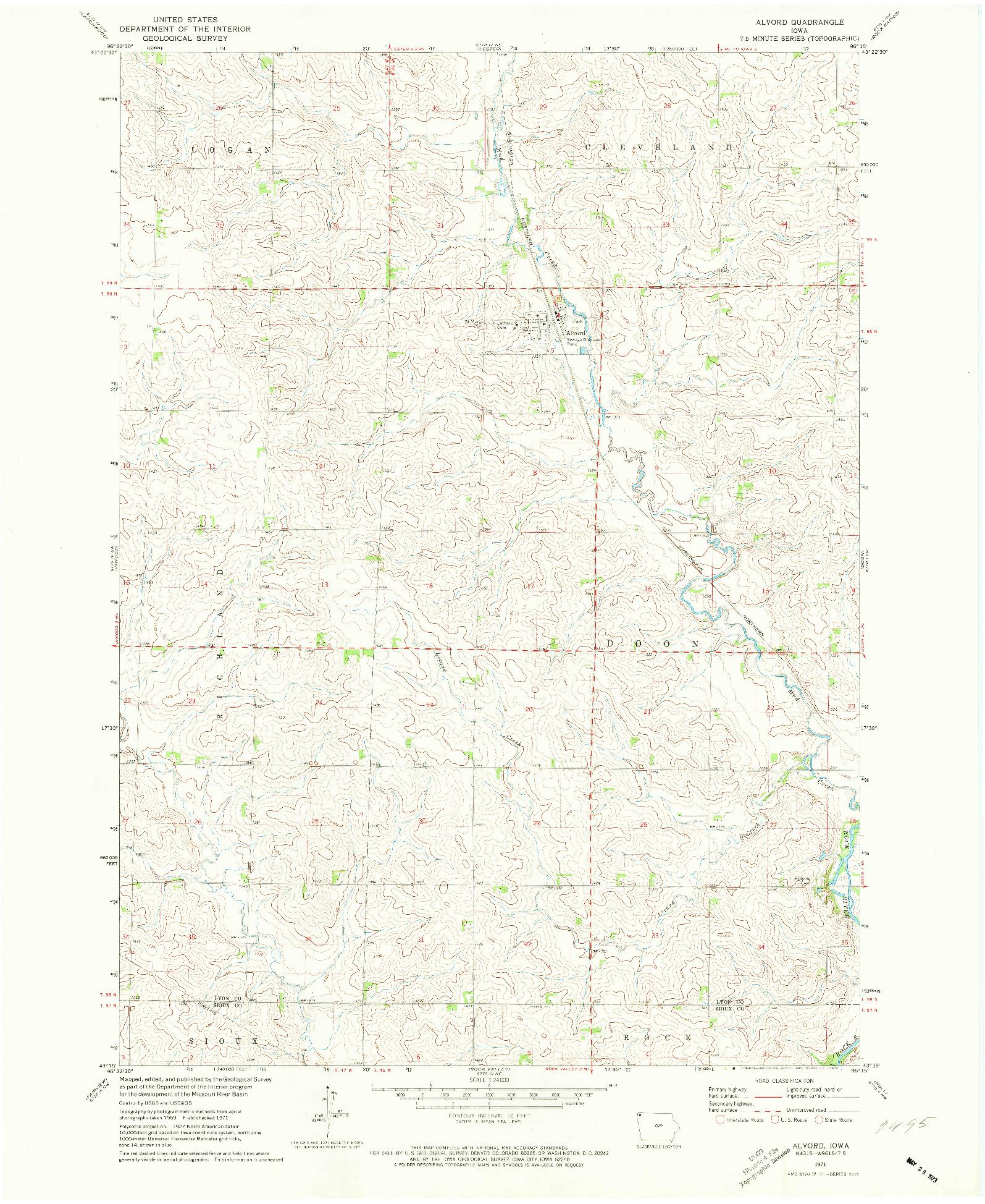 USGS 1:24000-SCALE QUADRANGLE FOR ALVORD, IA 1971