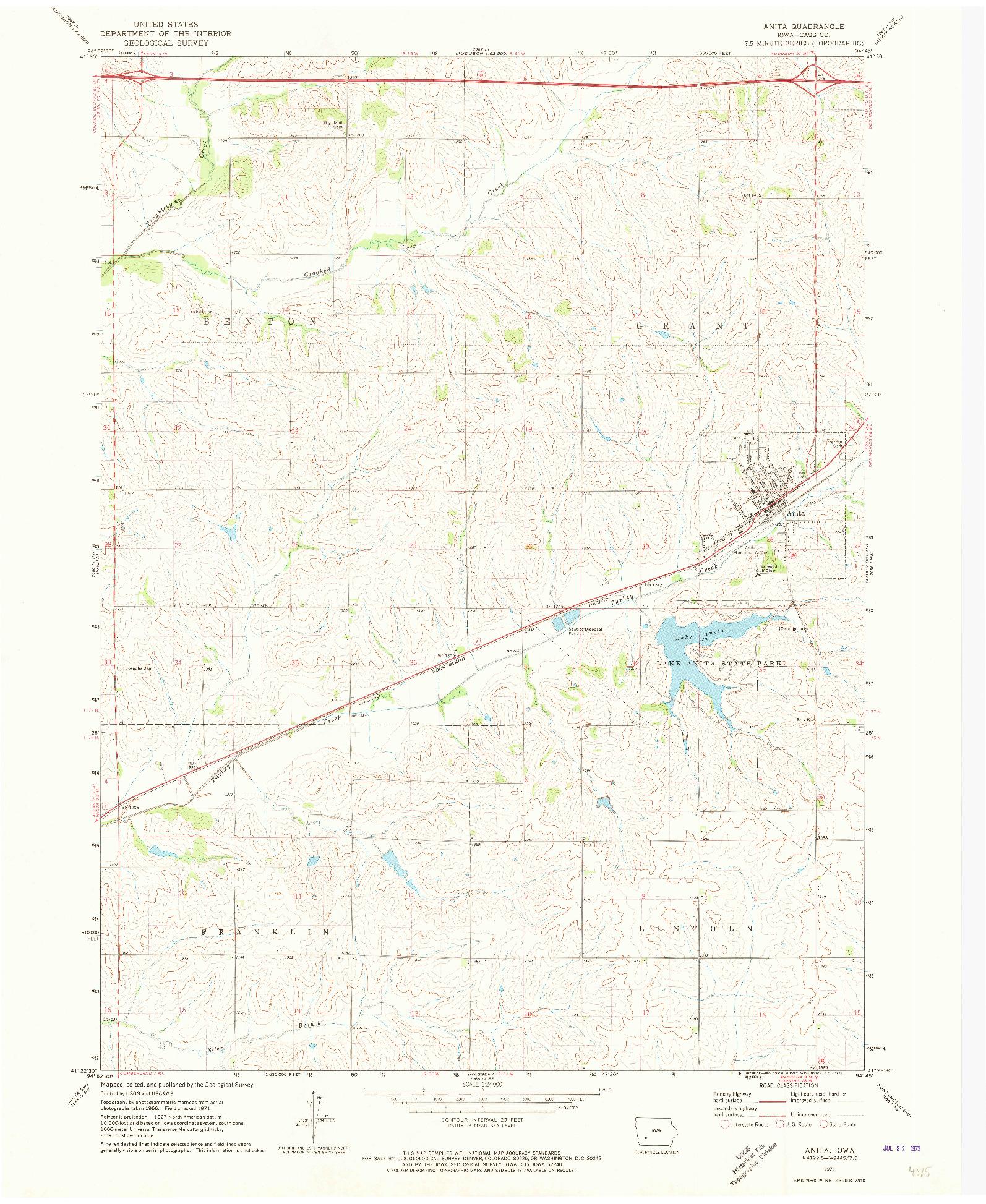 USGS 1:24000-SCALE QUADRANGLE FOR ANITA, IA 1971