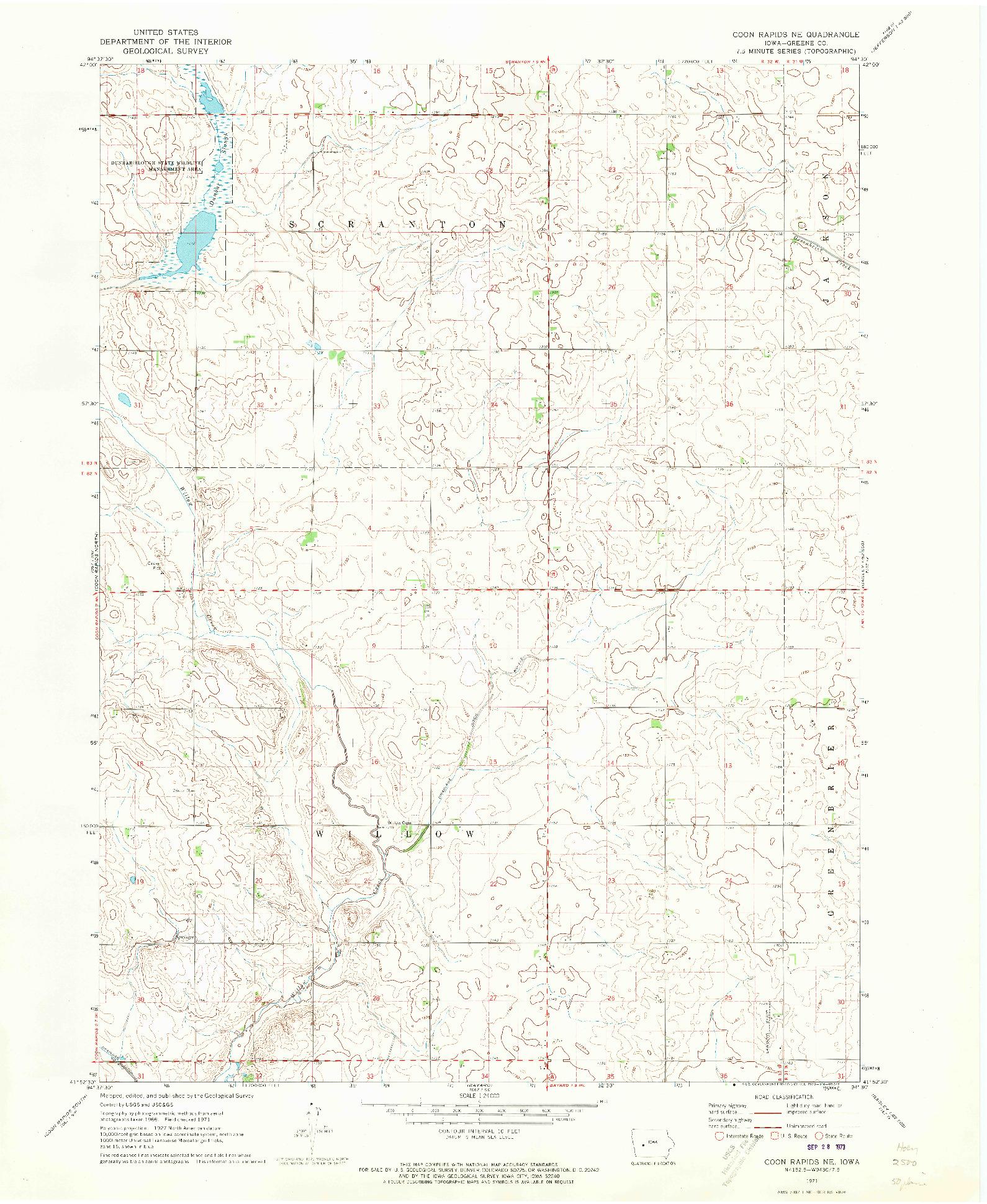 USGS 1:24000-SCALE QUADRANGLE FOR COON RAPIDS NE, IA 1971