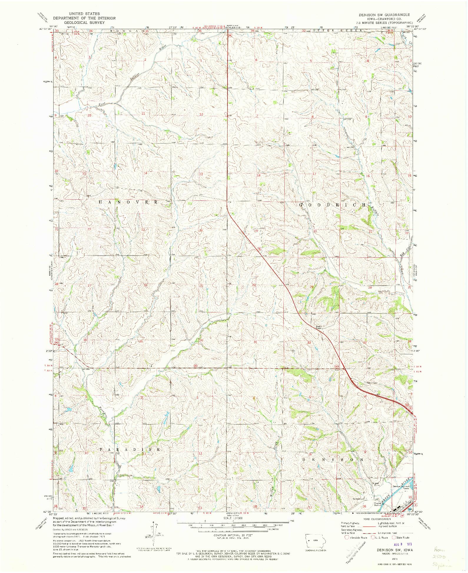 USGS 1:24000-SCALE QUADRANGLE FOR DENISON SW, IA 1971