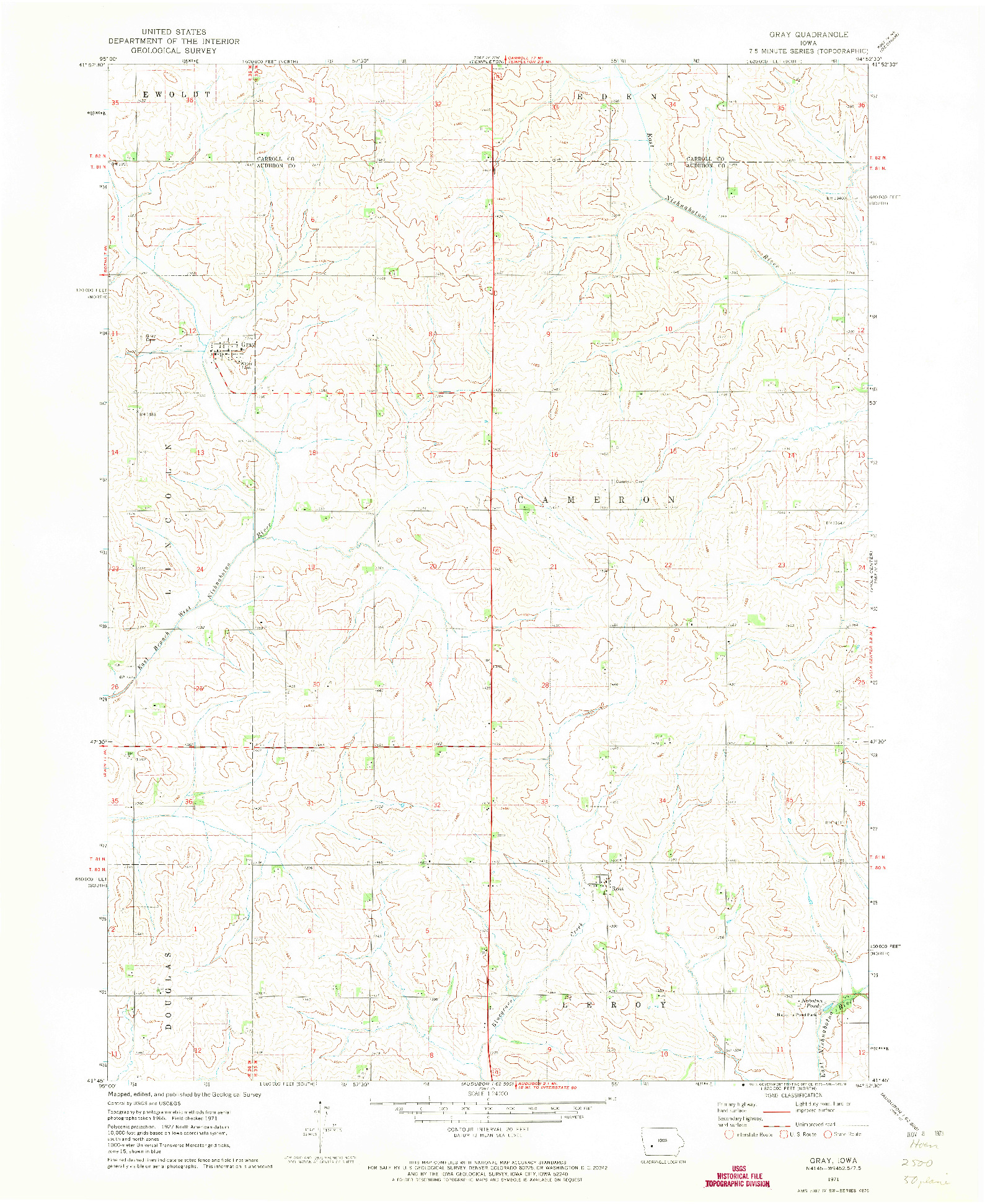 USGS 1:24000-SCALE QUADRANGLE FOR GRAY, IA 1971