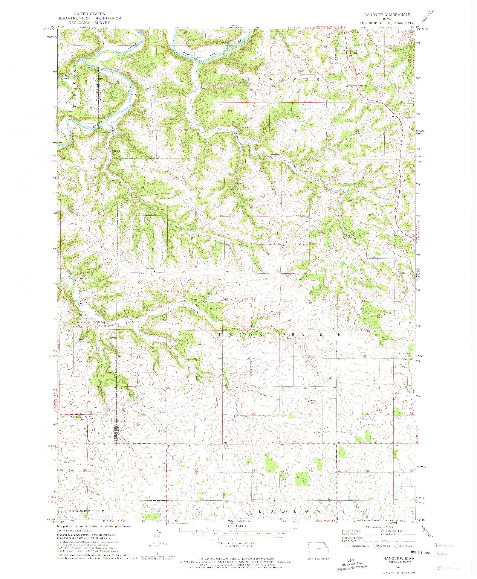 USGS 1:24000-SCALE QUADRANGLE FOR HANOVER, IA 1971