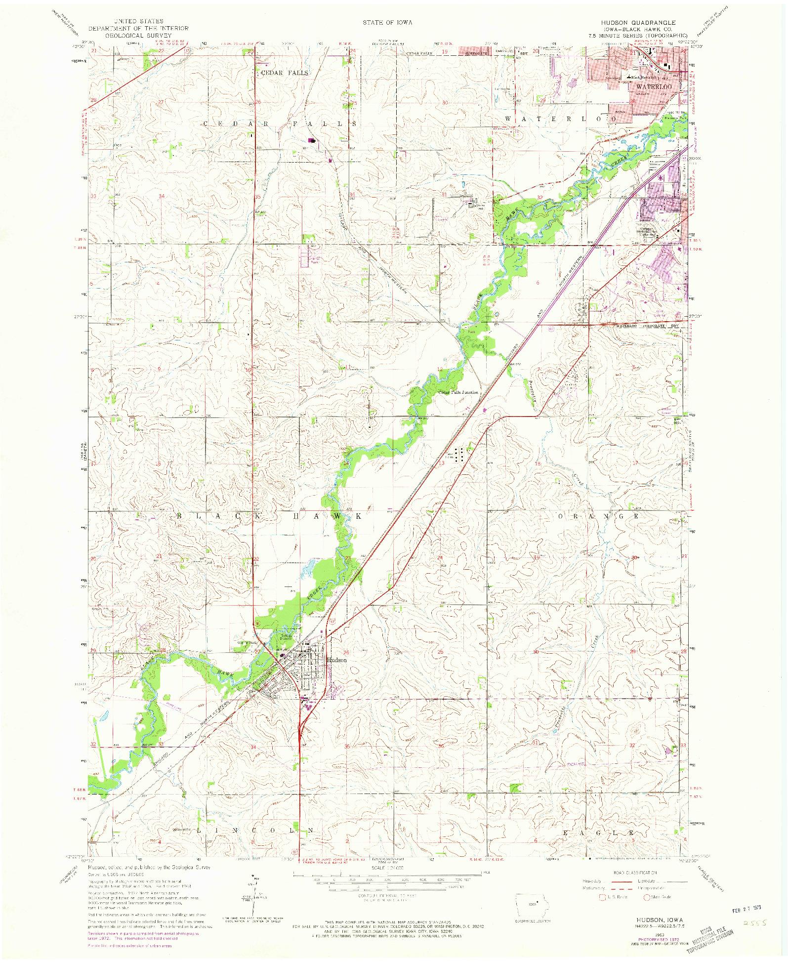 USGS 1:24000-SCALE QUADRANGLE FOR HUDSON, IA 1963