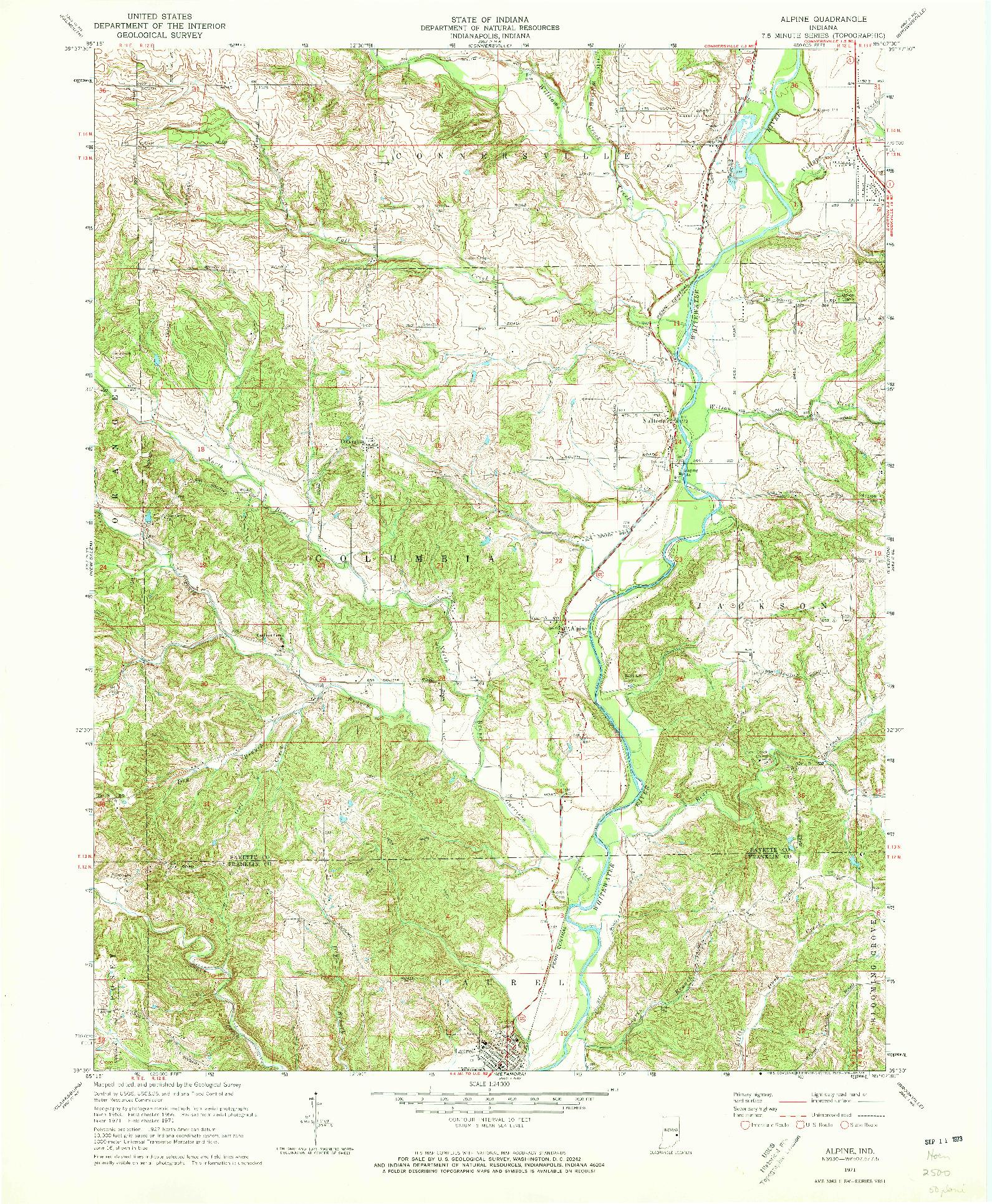 USGS 1:24000-SCALE QUADRANGLE FOR ALPINE, IN 1971