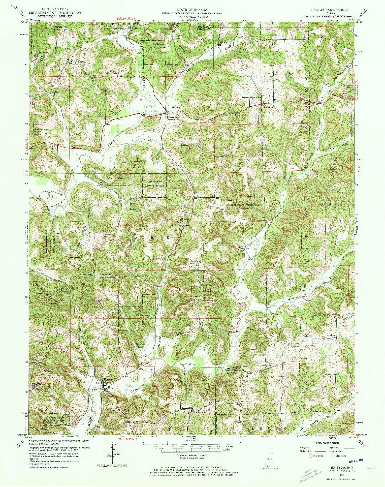 USGS 1:24000-SCALE QUADRANGLE FOR BRISTOW, IN 1957