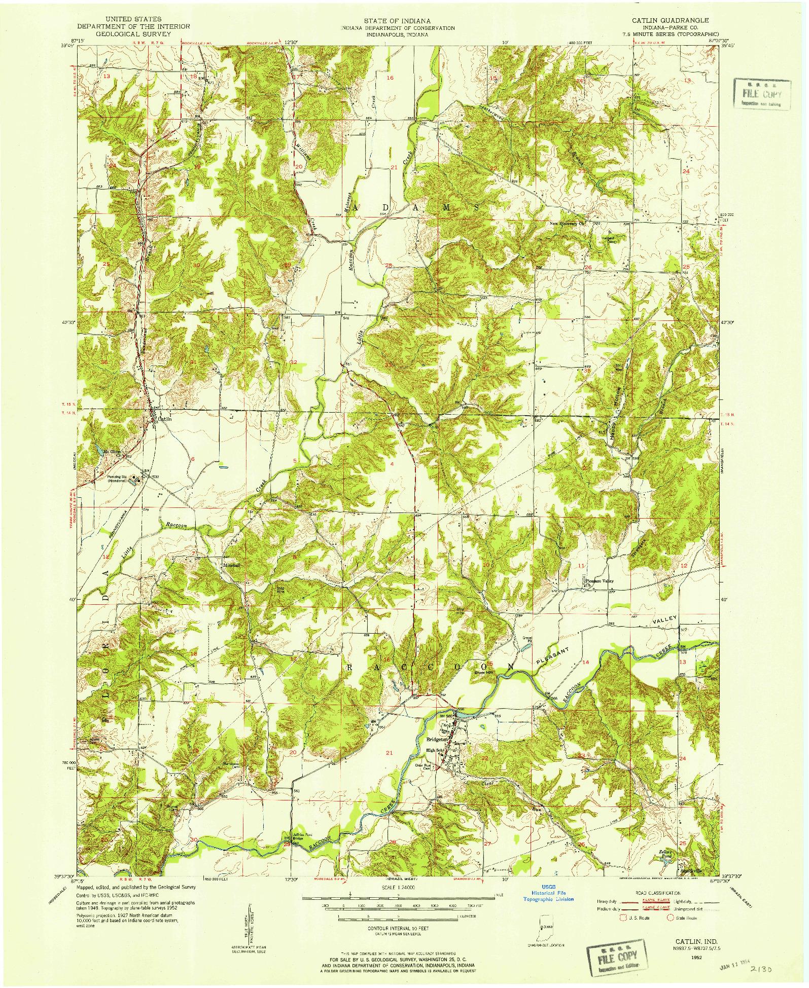 USGS 1:24000-SCALE QUADRANGLE FOR CATLIN, IN 1952