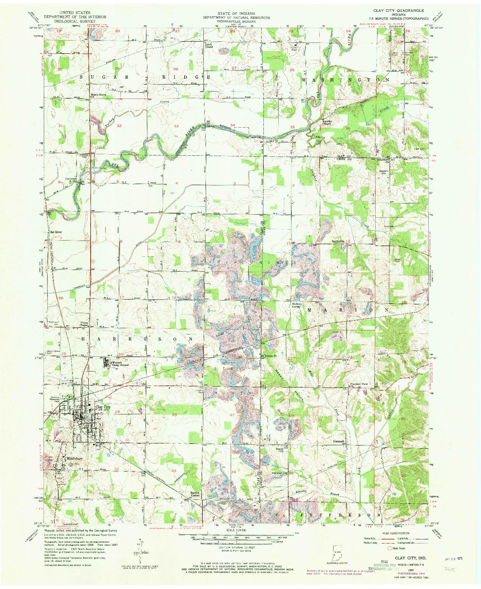 USGS 1:24000-SCALE QUADRANGLE FOR CLAY CITY, IN 1957