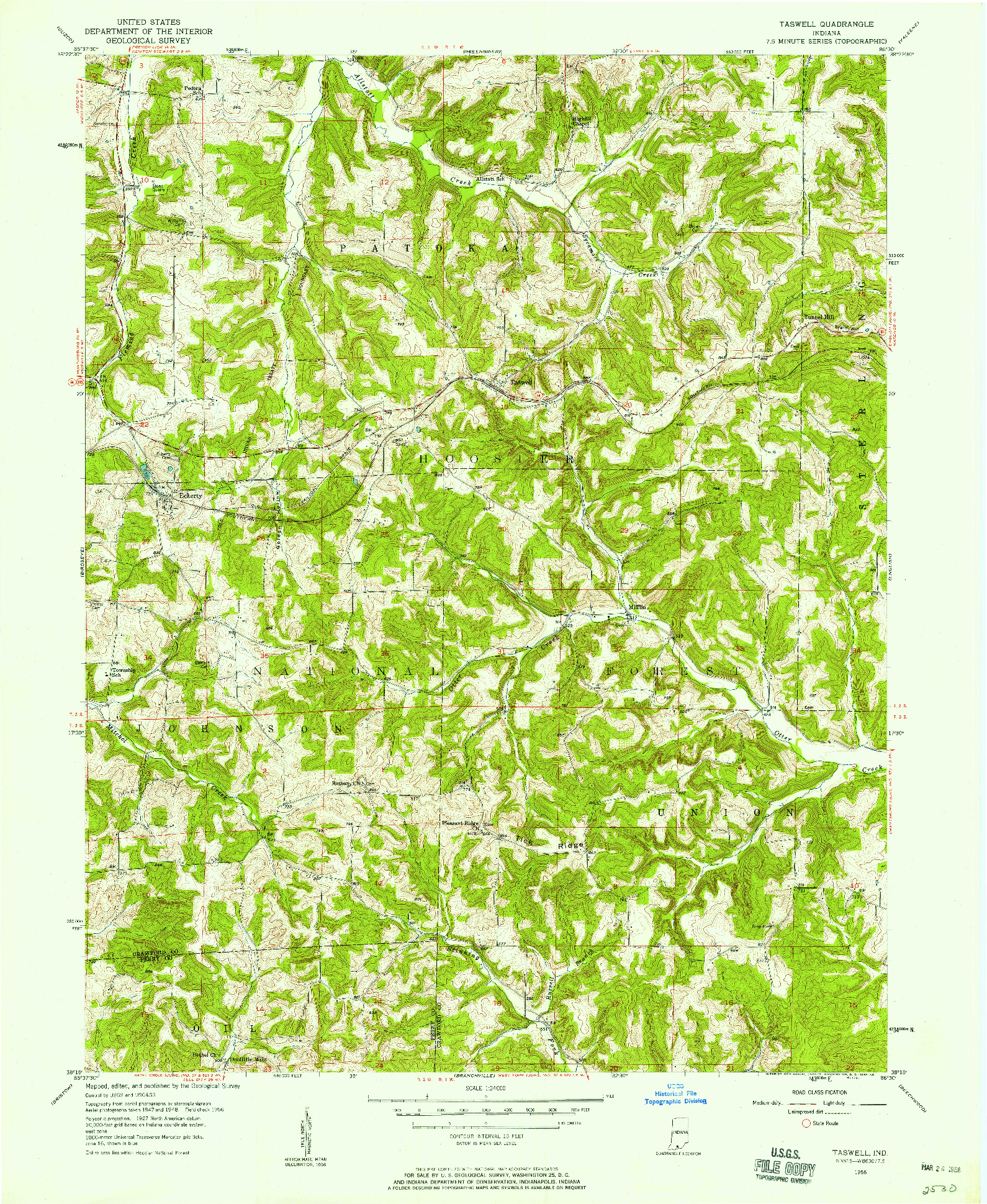 USGS 1:24000-SCALE QUADRANGLE FOR TASWELL, IN 1956
