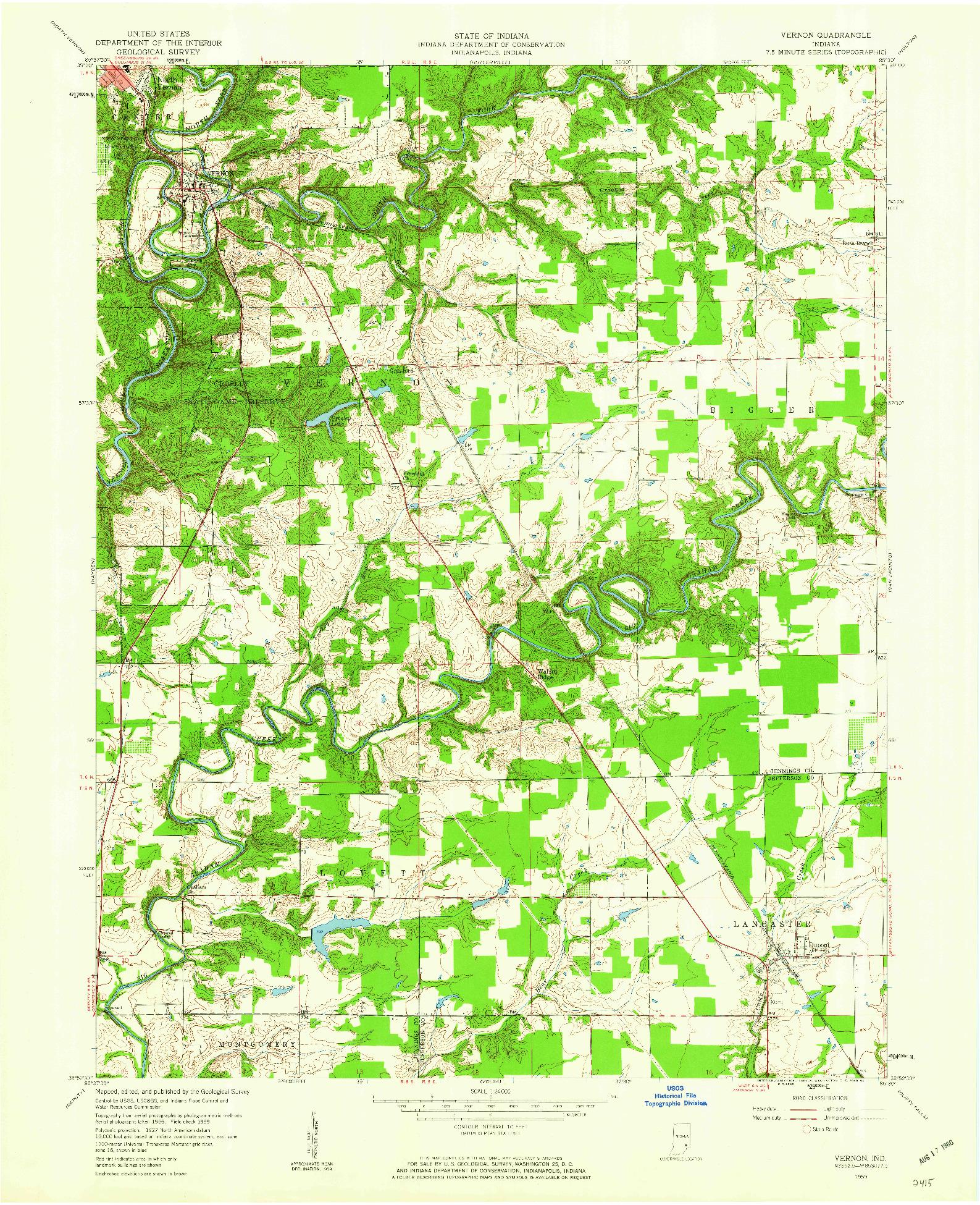 USGS 1:24000-SCALE QUADRANGLE FOR VERNON, IN 1959