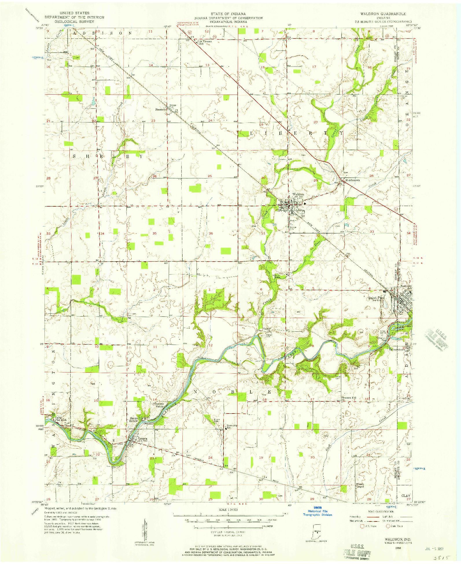 USGS 1:24000-SCALE QUADRANGLE FOR WALDRON, IN 1956