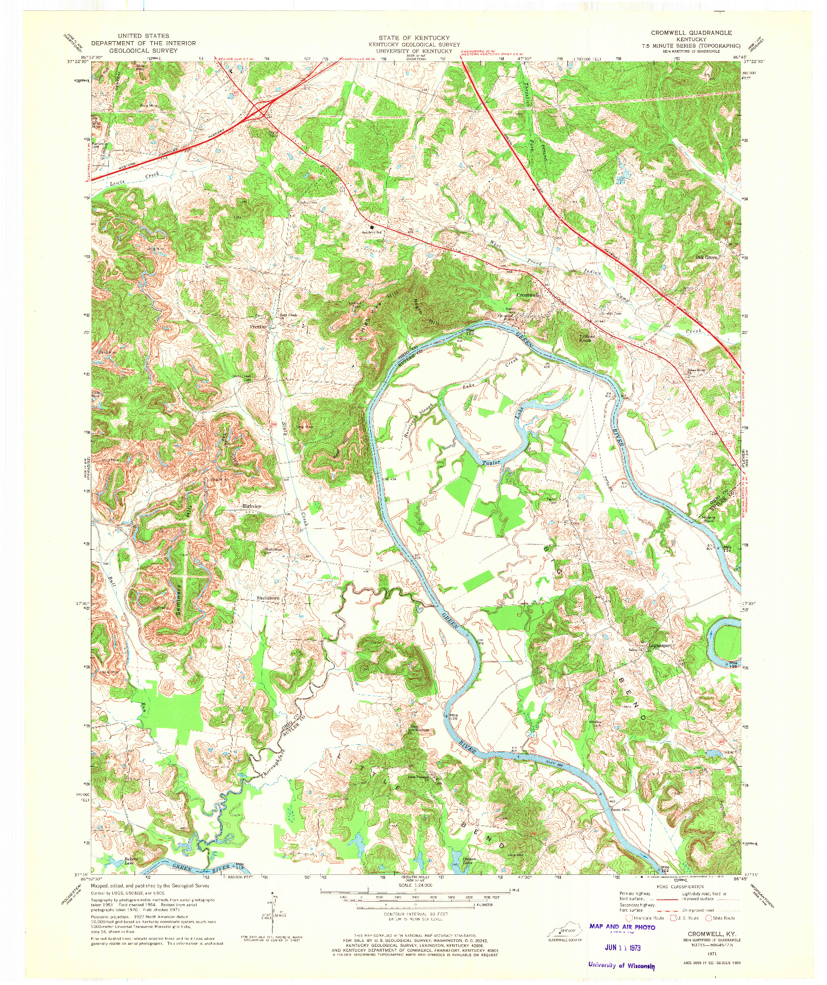 USGS 1:24000-SCALE QUADRANGLE FOR CROMWELL, KY 1971