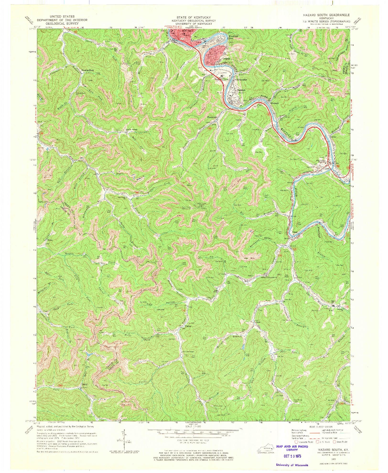 USGS 1:24000-SCALE QUADRANGLE FOR HAZARD SOUTH, KY 1972