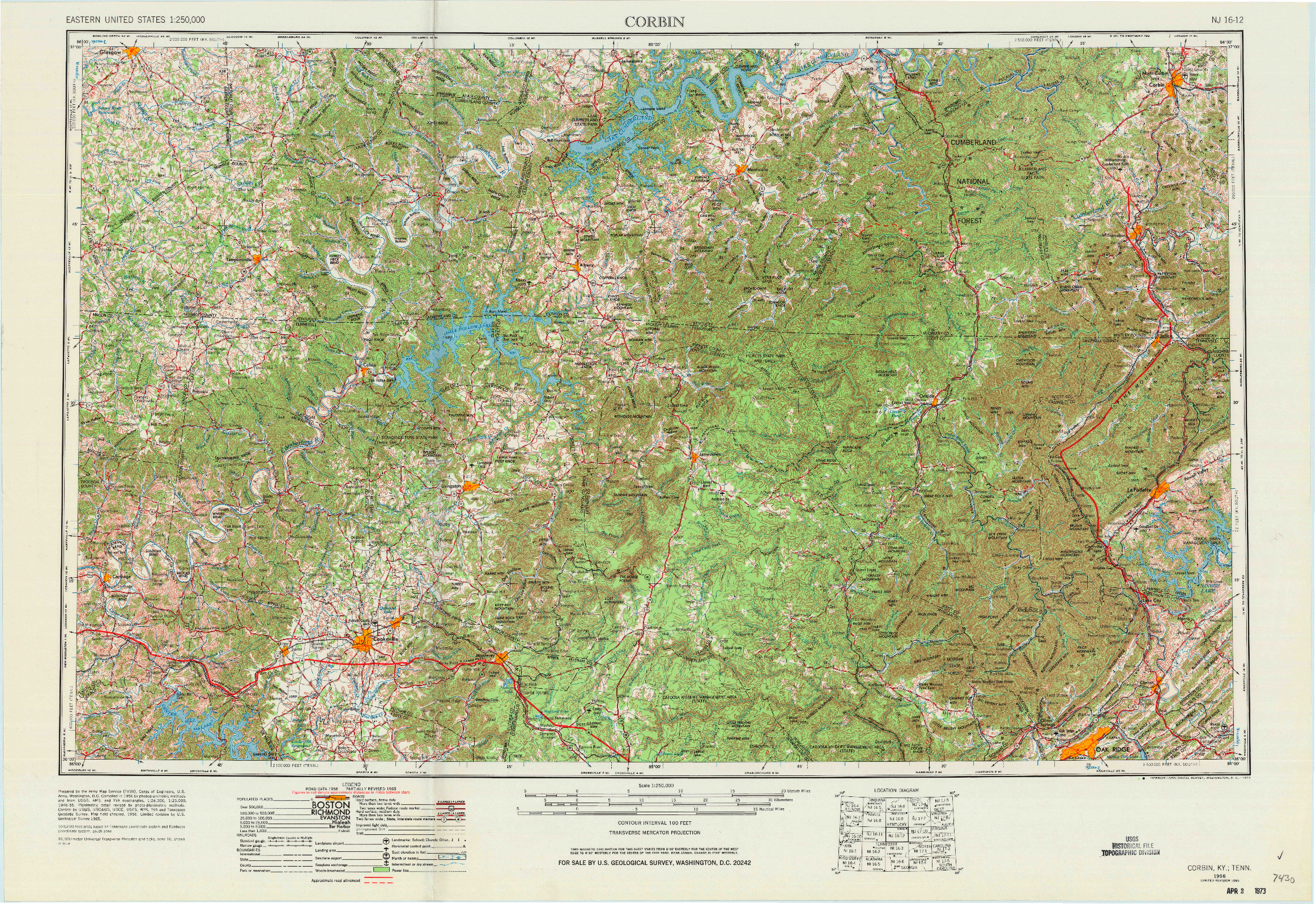 USGS 1:250000-SCALE QUADRANGLE FOR CORBIN, KY 1956