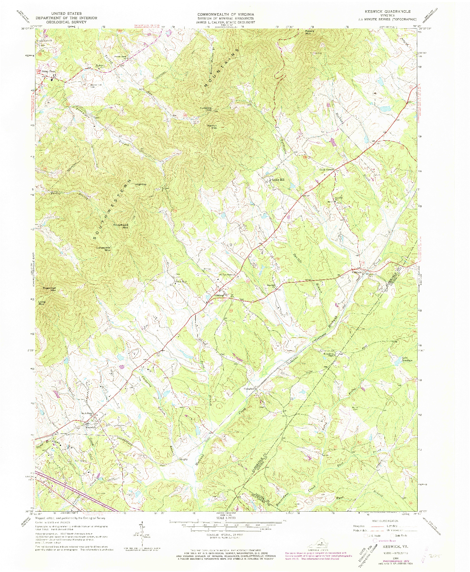 USGS 1:24000-SCALE QUADRANGLE FOR KESWICK, VA 1964