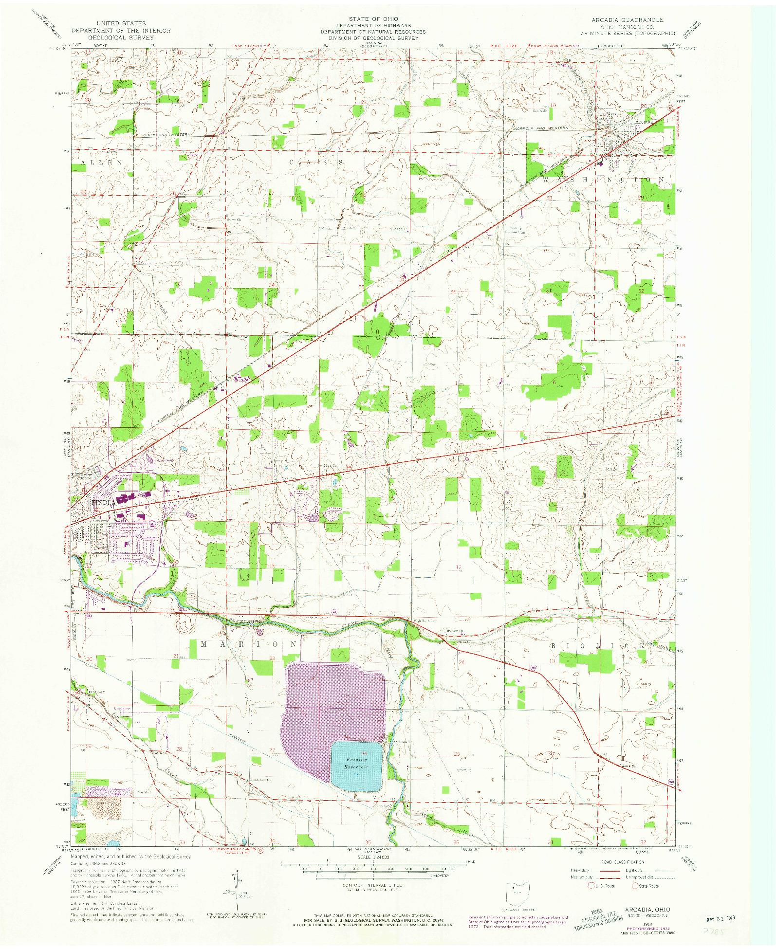 USGS 1:24000-SCALE QUADRANGLE FOR ARCADIA, OH 1960