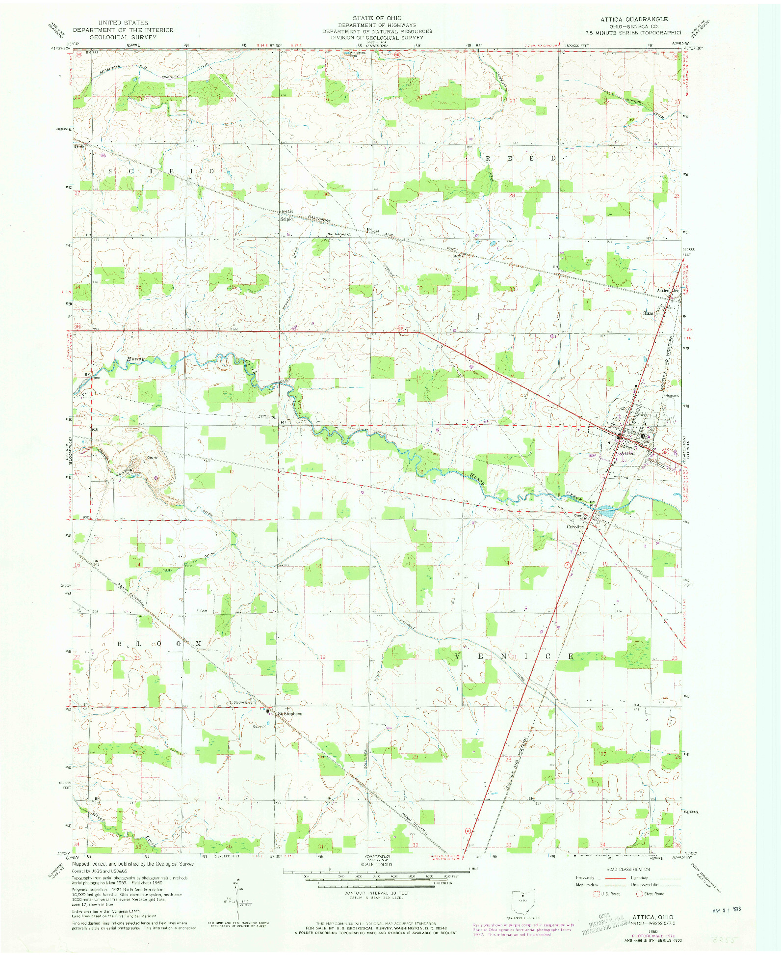 USGS 1:24000-SCALE QUADRANGLE FOR ATTICA, OH 1960