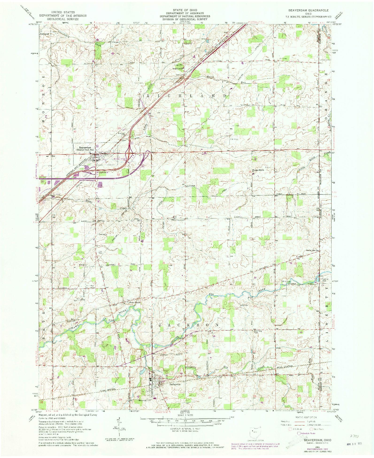 USGS 1:24000-SCALE QUADRANGLE FOR BEAVERDAM, OH 1961
