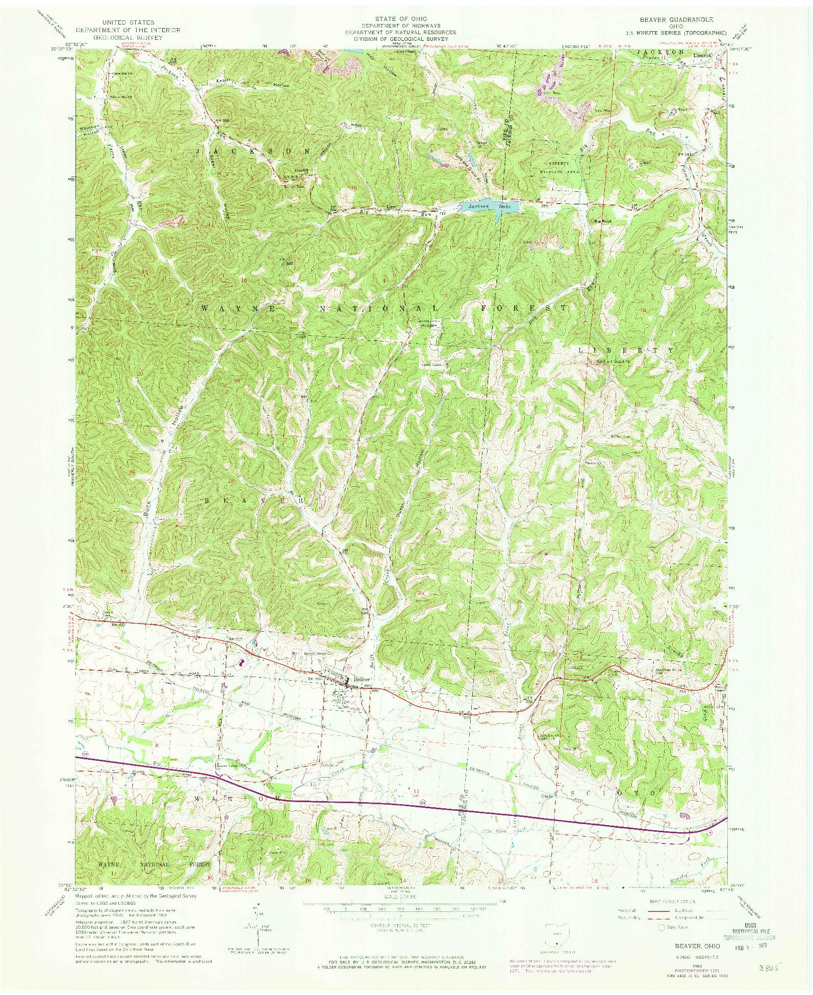 USGS 1:24000-SCALE QUADRANGLE FOR BEAVER, OH 1961