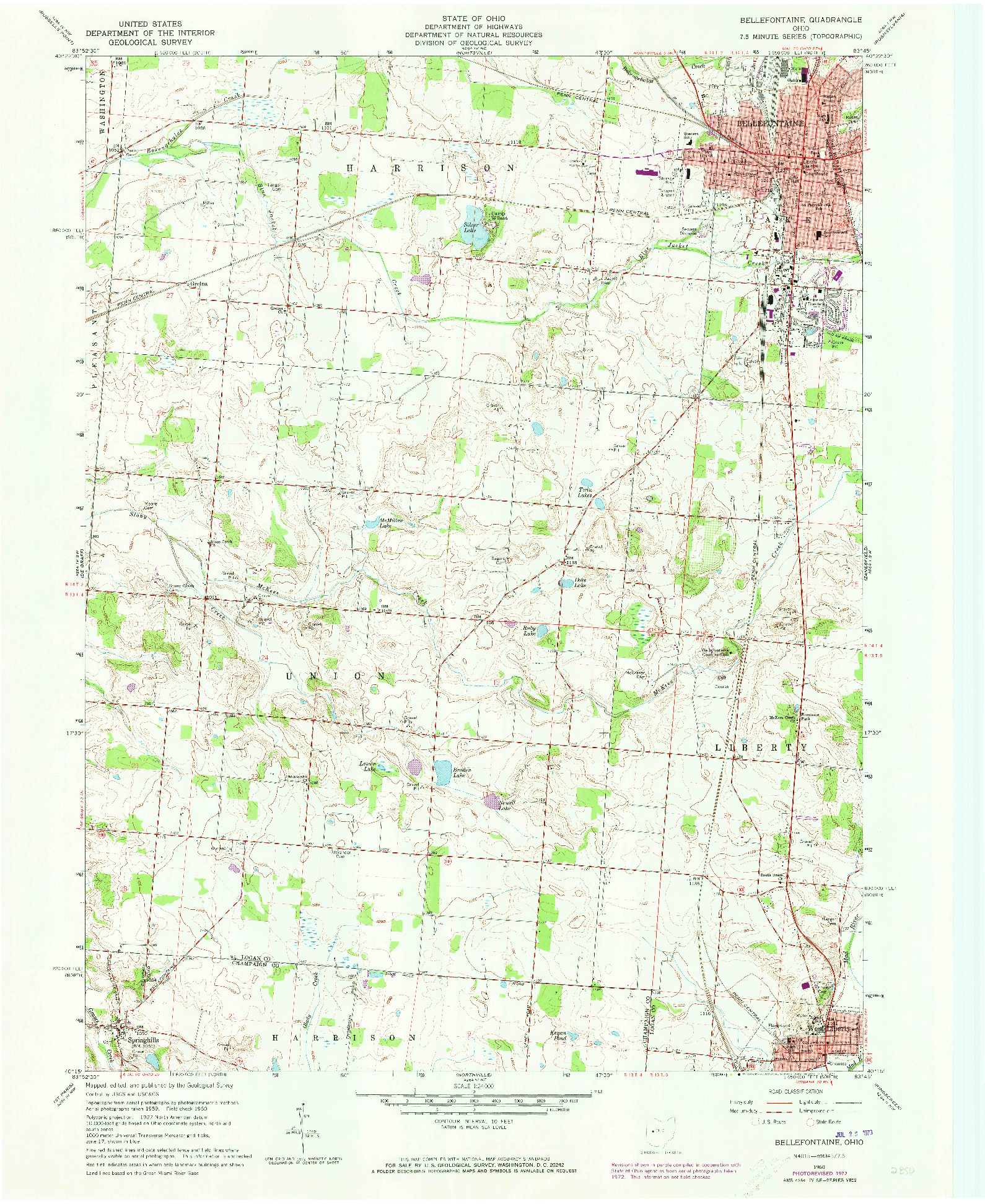 USGS 1:24000-SCALE QUADRANGLE FOR BELLEFONTAINE, OH 1960