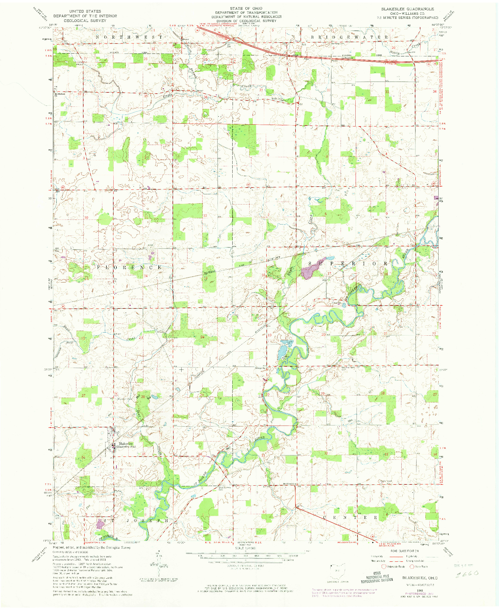 USGS 1:24000-SCALE QUADRANGLE FOR BLAKESLEE, OH 1961