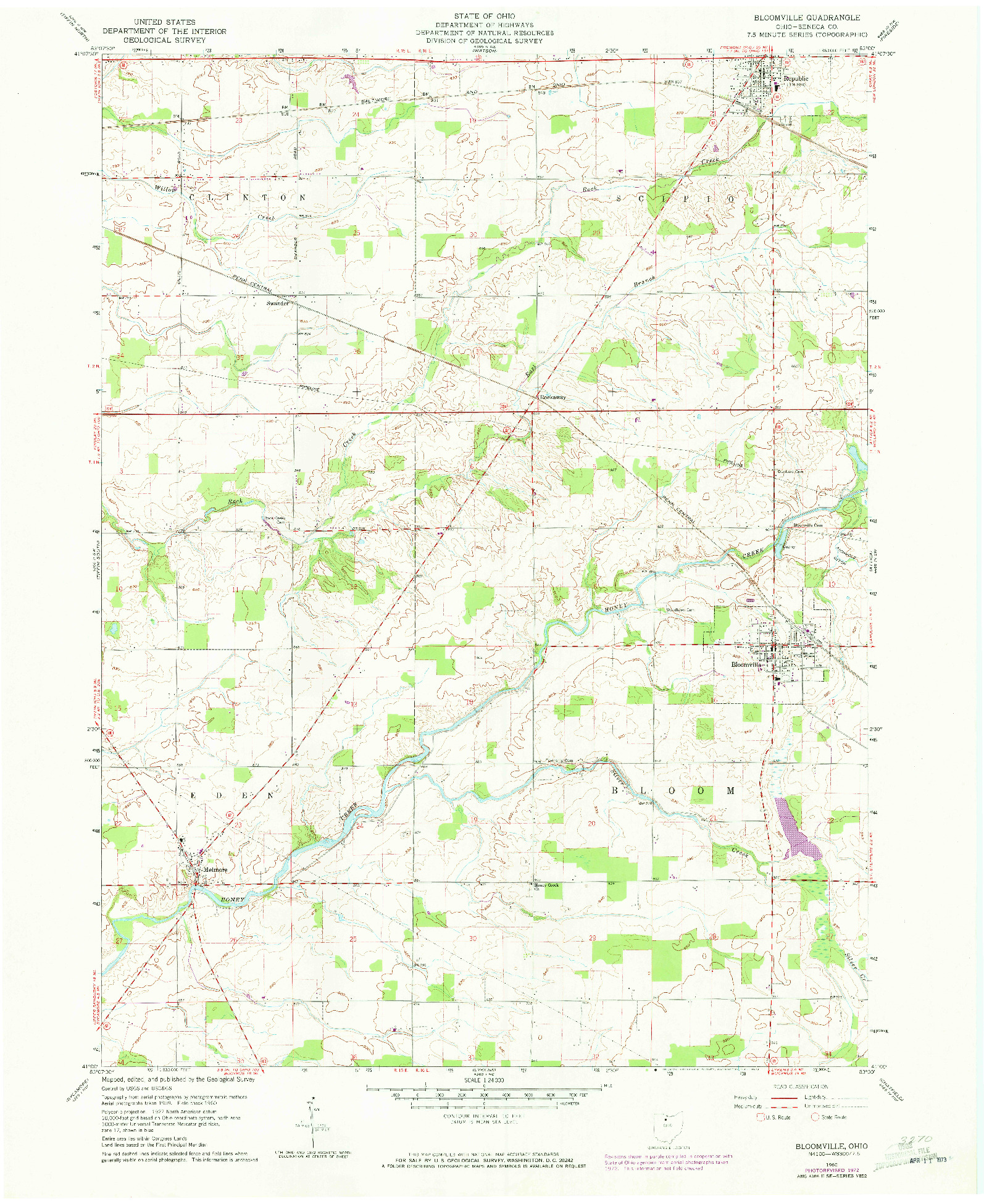 USGS 1:24000-SCALE QUADRANGLE FOR BLOOMVILLE, OH 1960