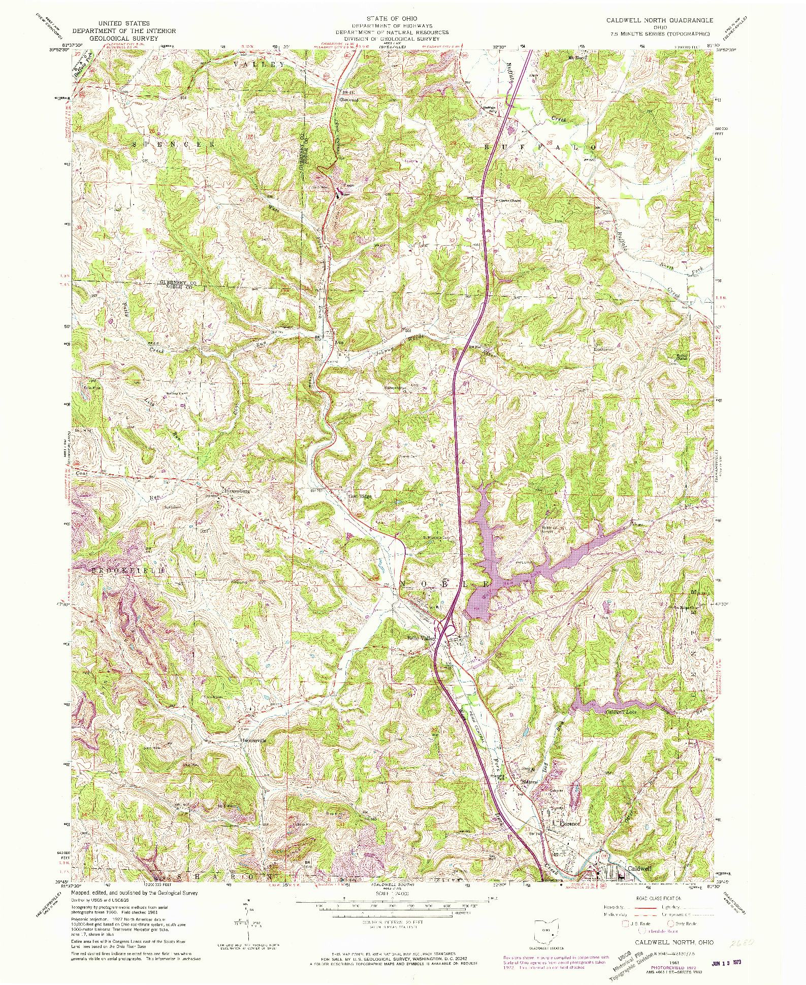 USGS 1:24000-SCALE QUADRANGLE FOR CALDWELL NORTH, OH 1961