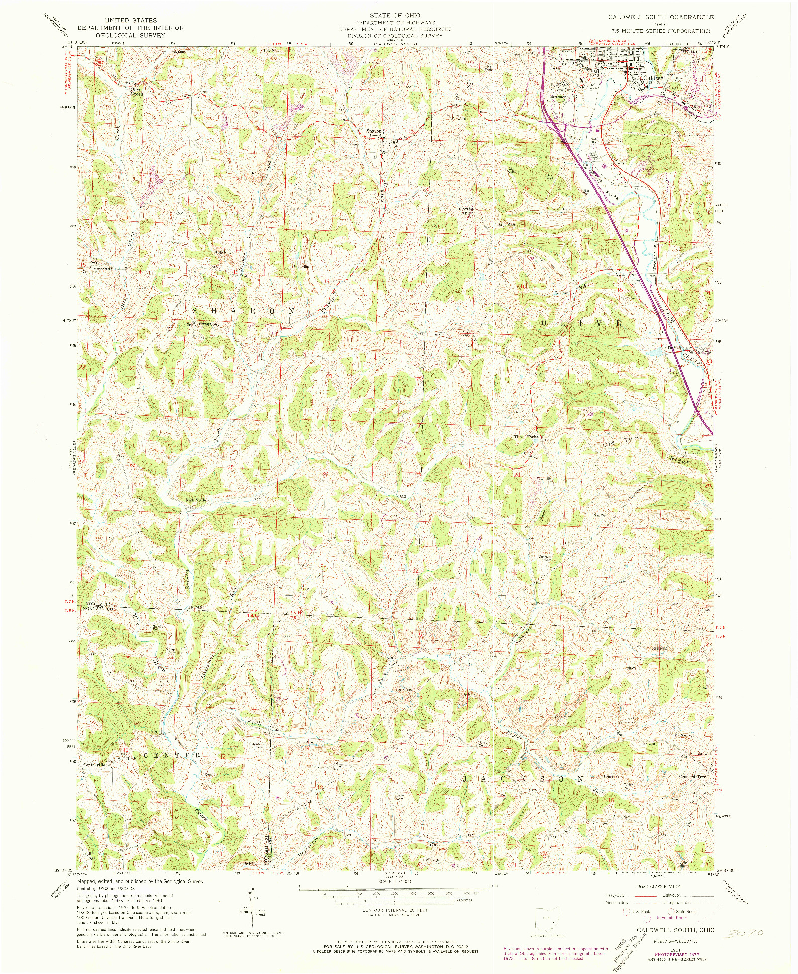 USGS 1:24000-SCALE QUADRANGLE FOR CALDWELL SOUTH, OH 1961