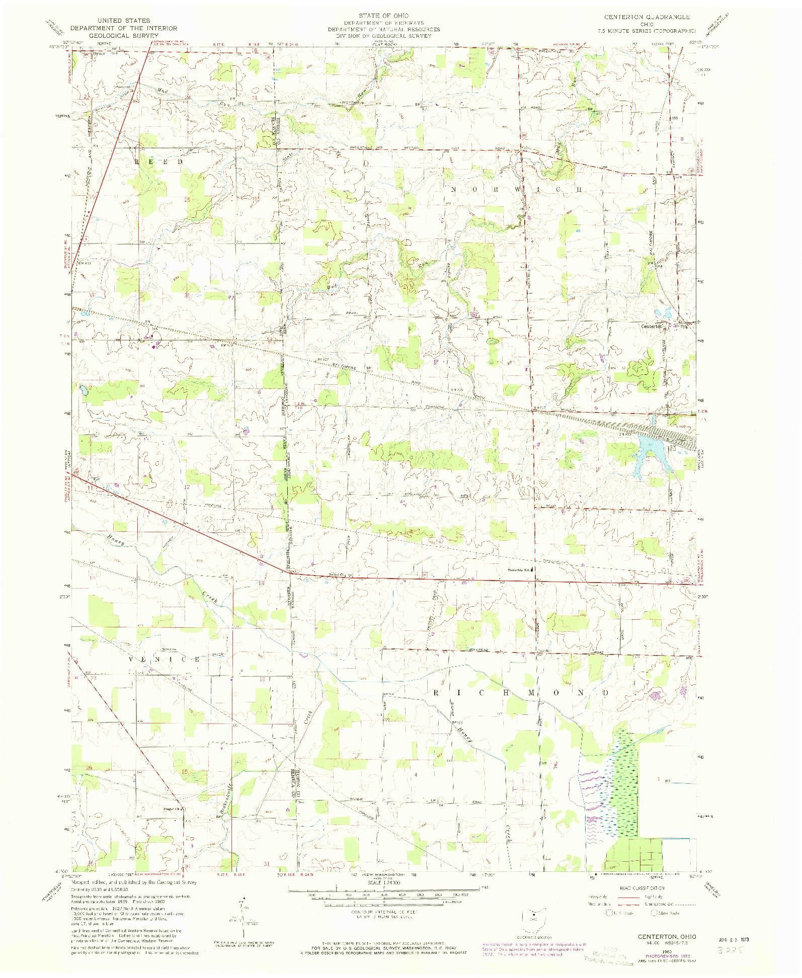 USGS 1:24000-SCALE QUADRANGLE FOR CENTERTON, OH 1960